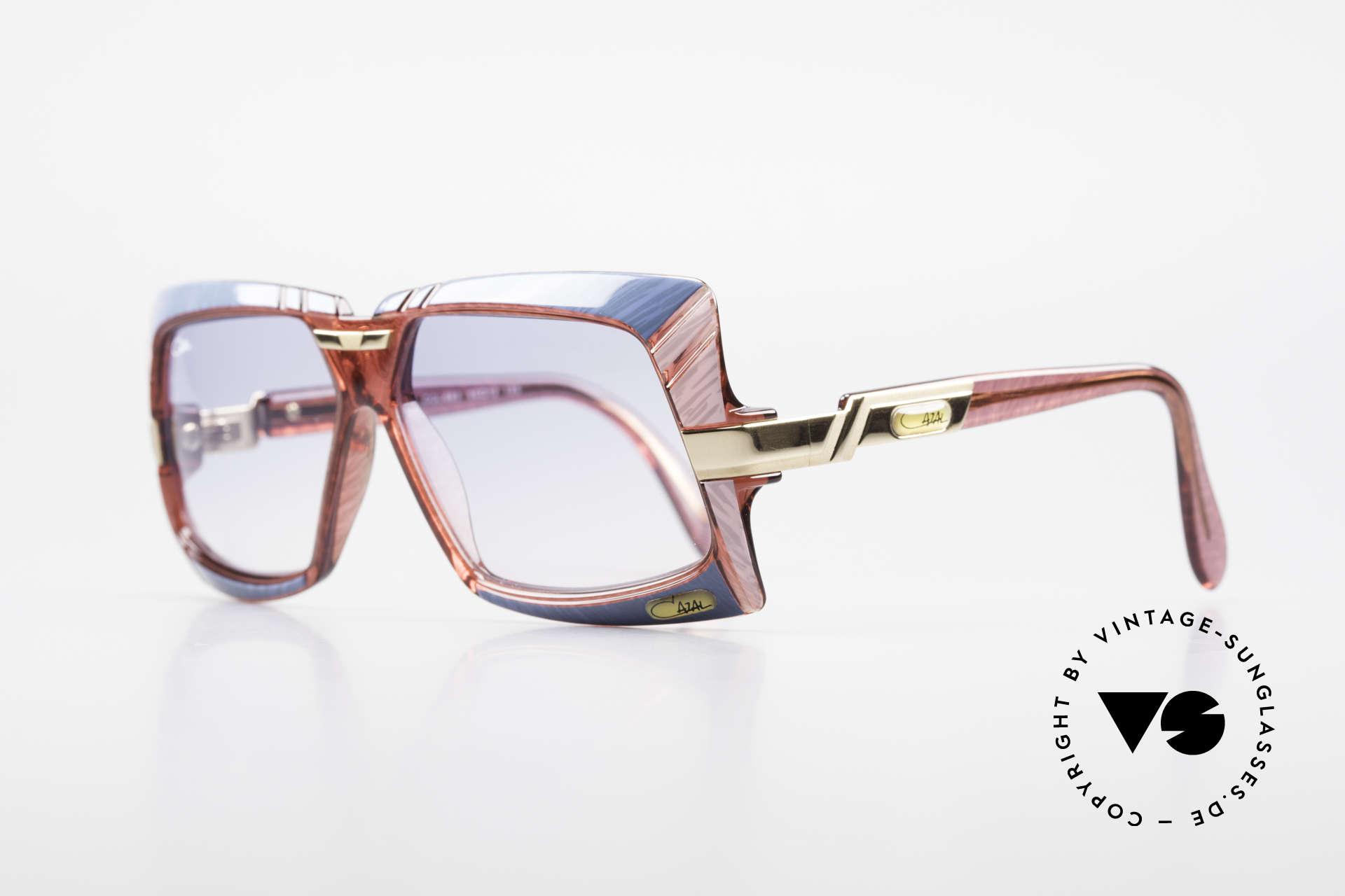 Cazal 869 Alte 80er Vintage Sonnenbrille, Farbbezeichnung: azurblau - rosa meliert / kristall rosé, Passend für Herren und Damen