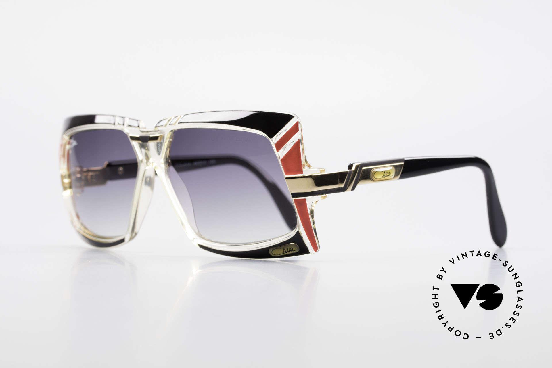 Cazal 869 80er True Vintage Sonnenbrille, Farbbezeichnung 610: schwarz + rot / kristall / gold, Passend für Herren und Damen