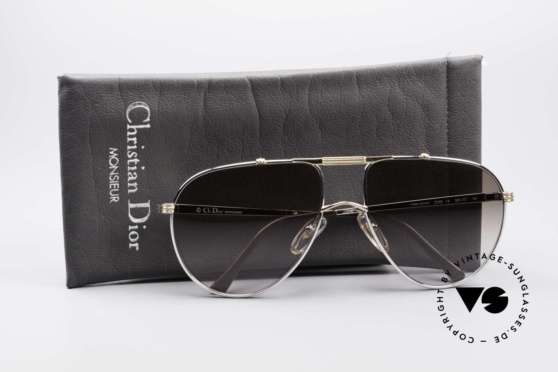 Christian Dior 2248 Large 80er Aviator Sonnenbrille, Größe: large, Passend für Herren
