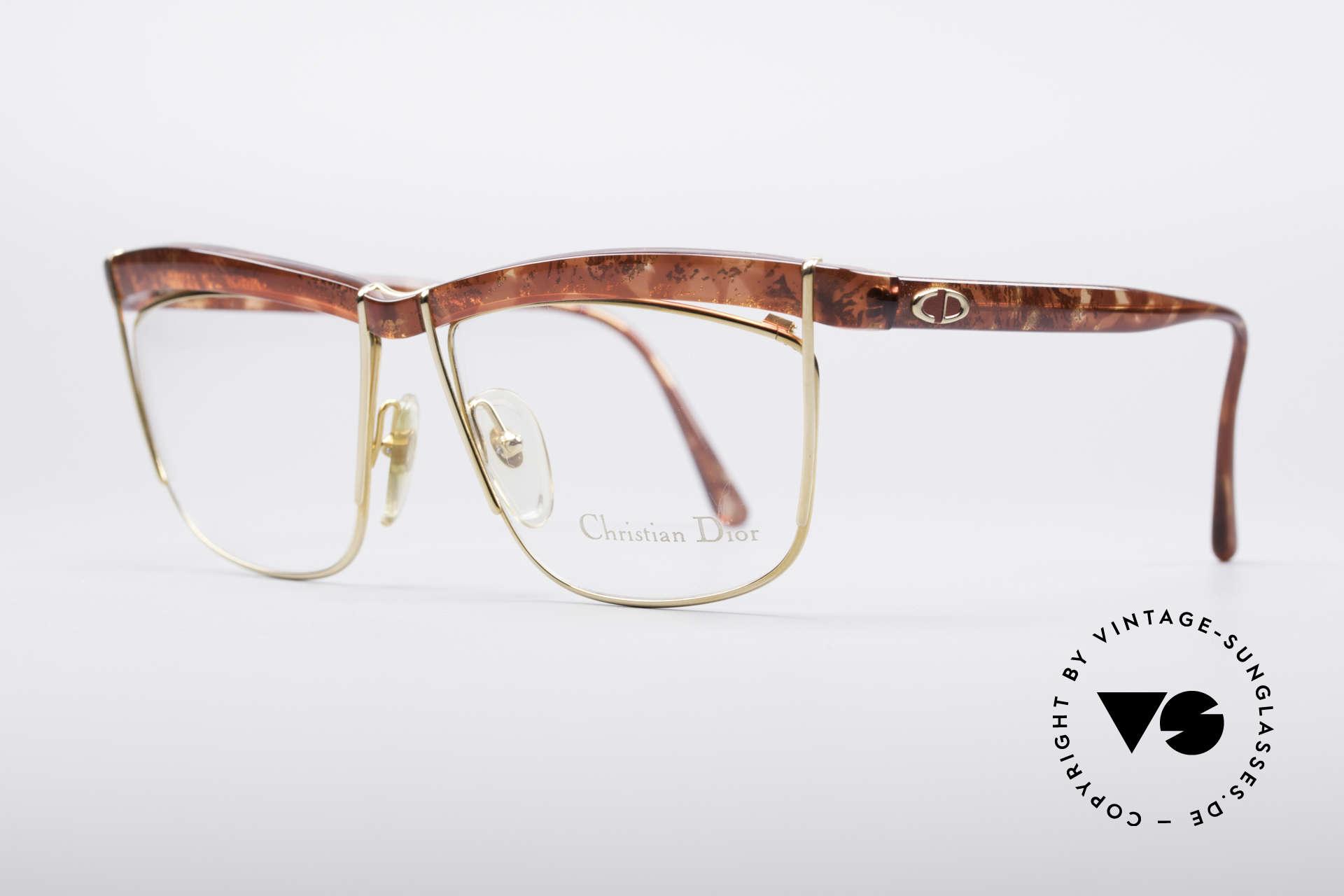 Christian Dior 2552 90er Vintage Brille, tolle Kombination v. Formen/Farben/Materialien, Passend für Damen