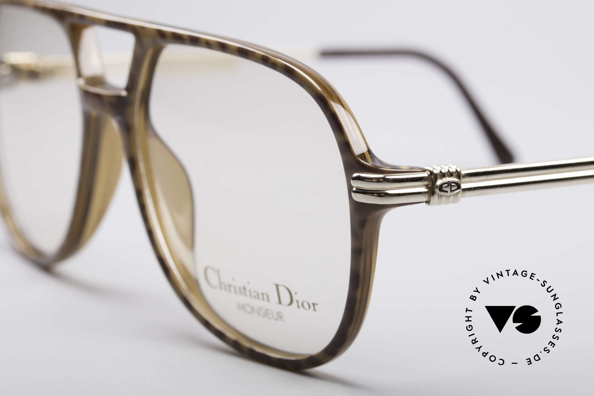 Christian Dior 2301 80er Optyl Brille Monsieur, zudem vergoldetet Brillenbügel; SMALL-Gr. 54/15, Passend für Herren