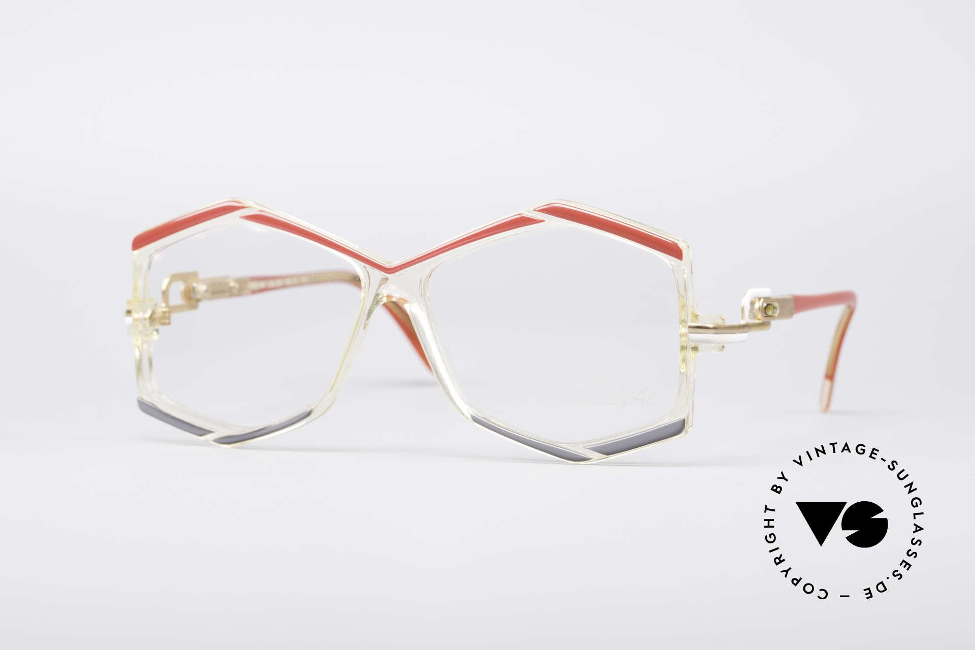 Cazal 180 80er Designerbrille, sechseckige Cazal Designerbrille von 1986/1987, Passend für Damen