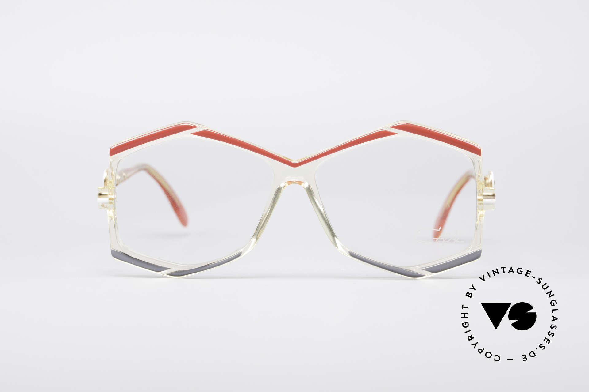 Cazal 180 80er Designerbrille, klarer Rahmen mit tollen ungewöhnlichen Farben, Passend für Damen