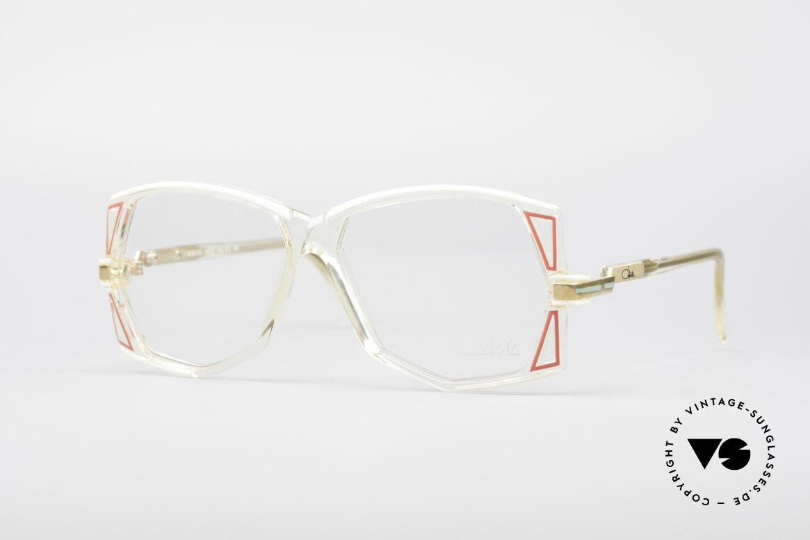 Cazal 172 Kristallklare 80er Brille, seltene Cazal-Designer Damenbrille aus den 1980ern, Passend für Damen
