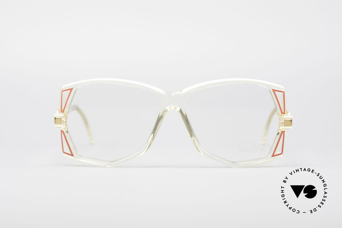 Cazal 172 Kristallklare 80er Brille, kristallklarer Rahmen mit grandiosen Farb-Akzenten, Passend für Damen