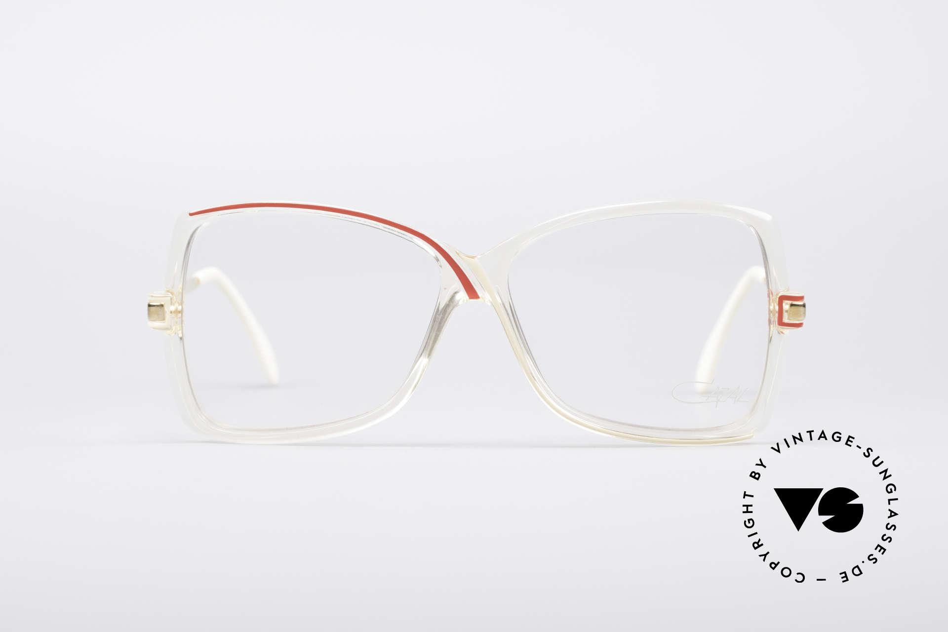 Cazal 175 Echt 80er Vintage Brille, transparenter Rahmen mit schwungvollen Linien, Passend für Damen