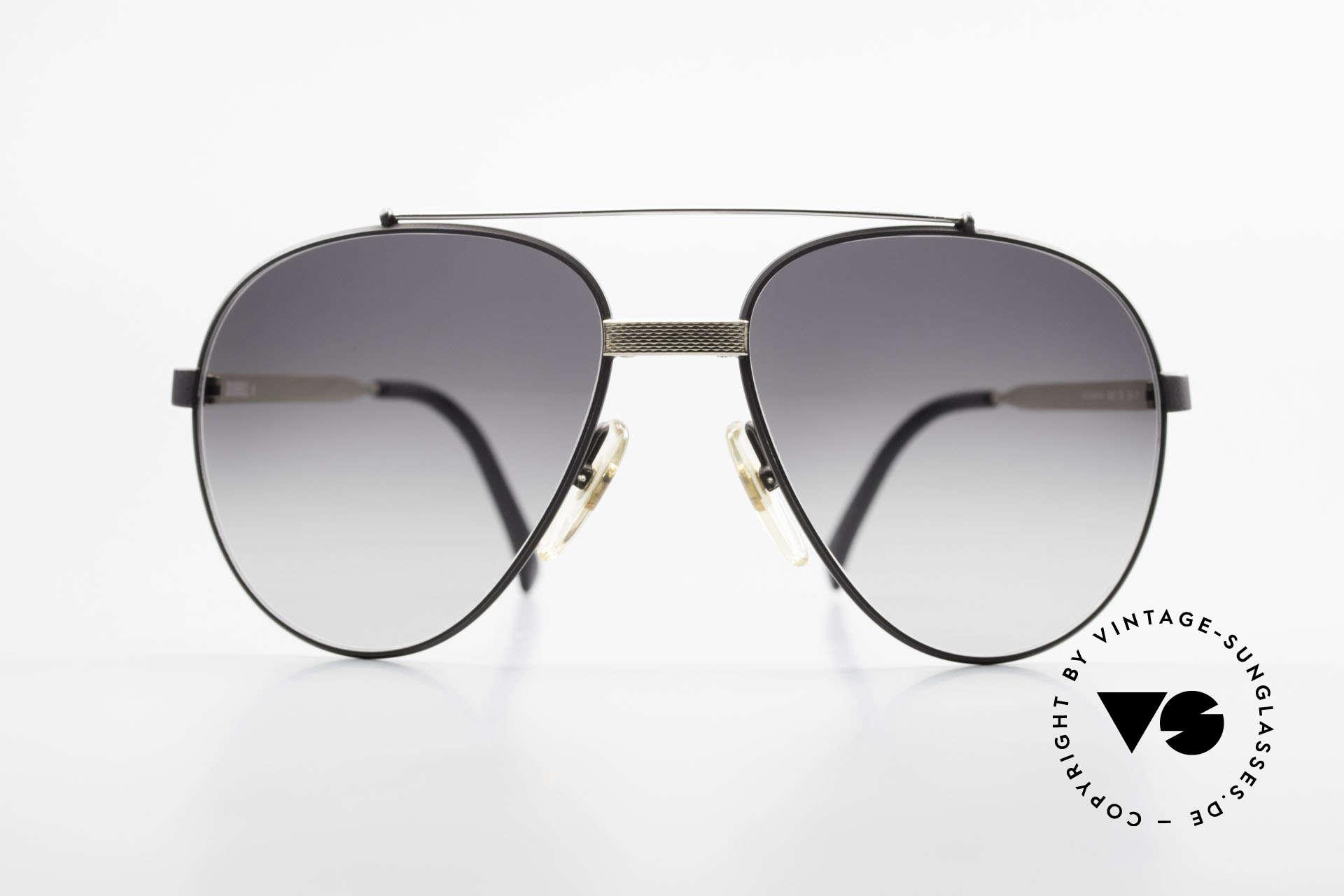 Dunhill 6023 80er Luxus Sonnenbrille Herren, schwarz verchromt mit vergoldeten Elementen, Passend für Herren