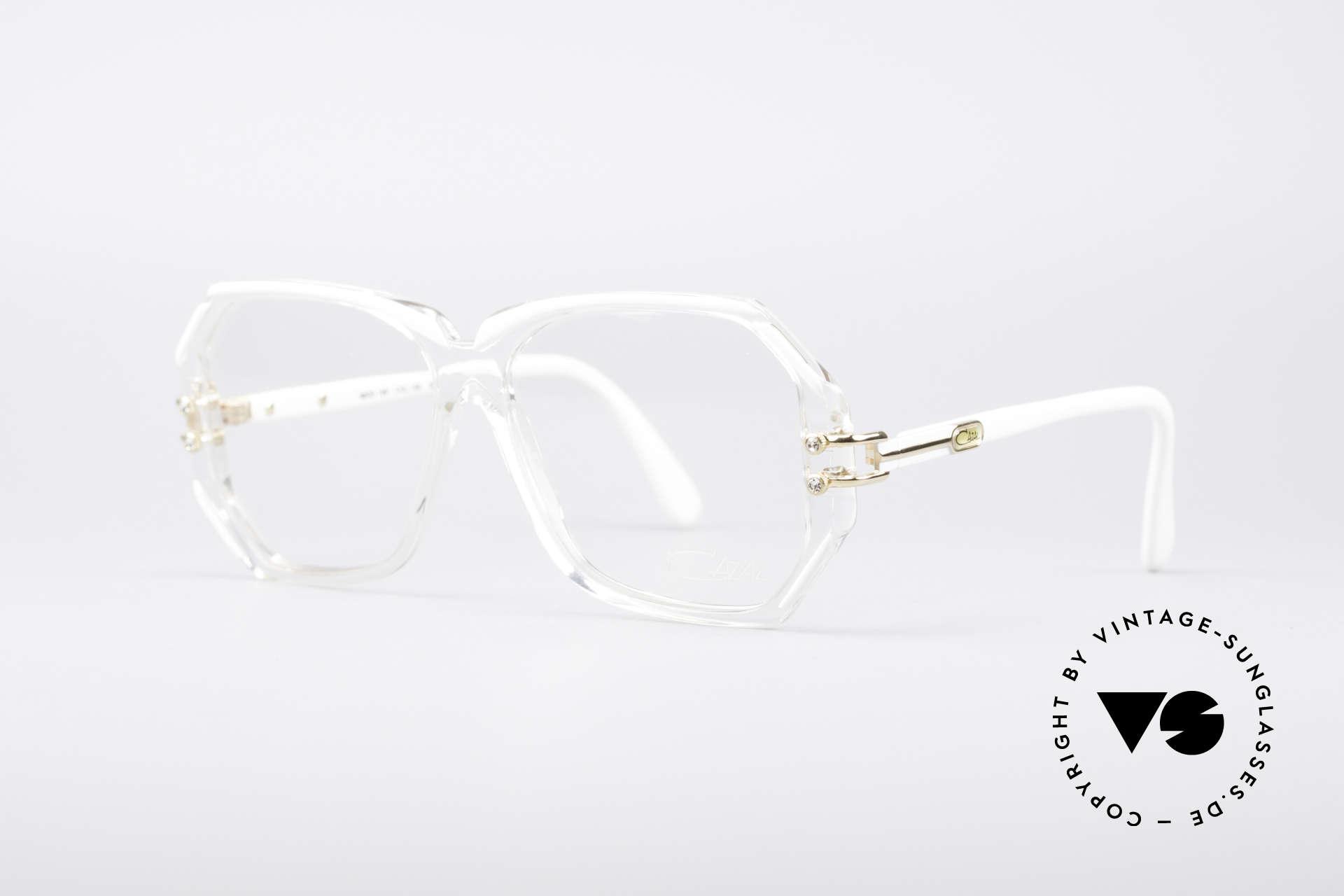 Cazal 169 Kleine Designer Brille, kristallklare Fassung mit weißen Rahmen-Umrandungen, Passend für Damen