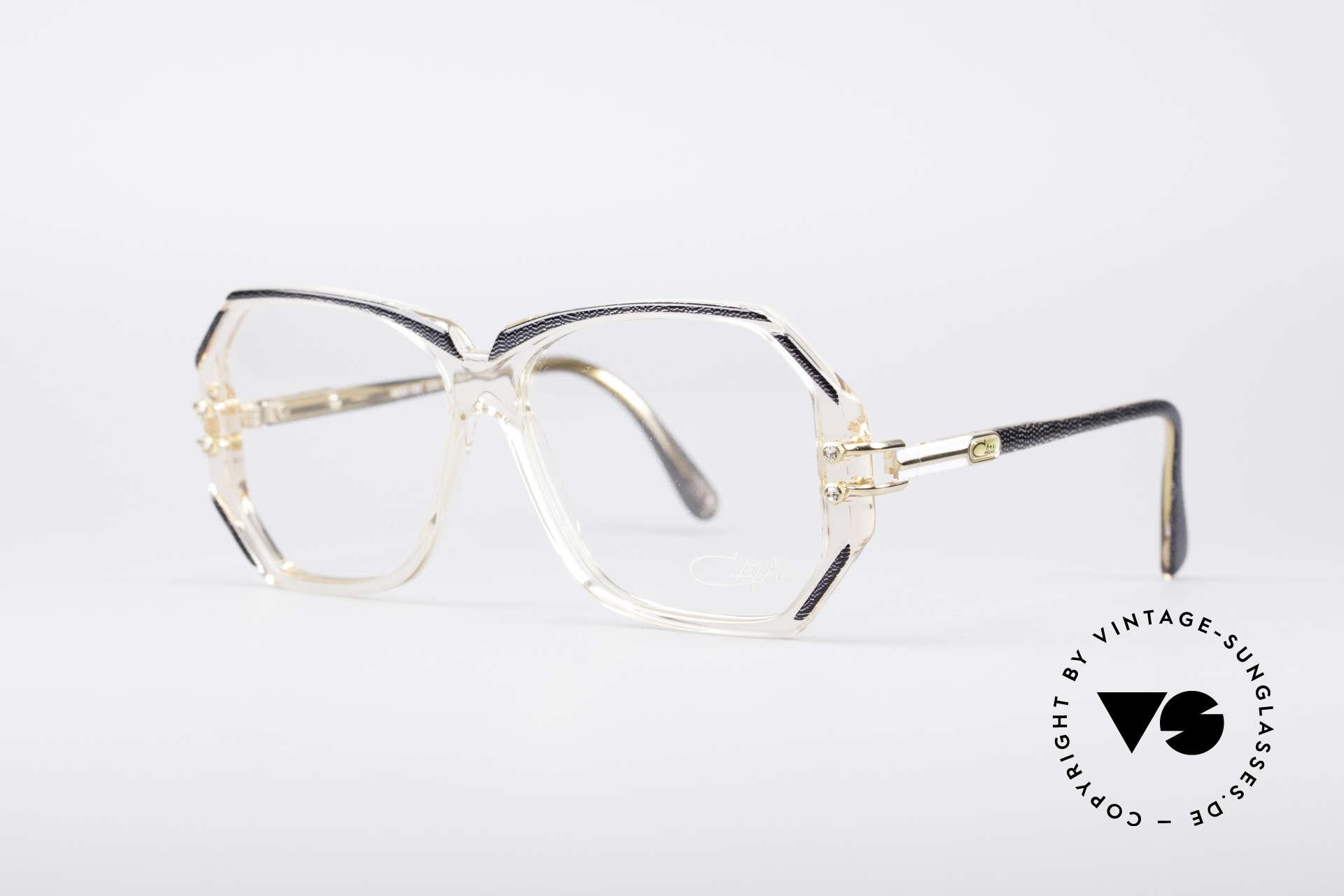 Cazal 169 Vintage Designer Brille, kristallklare Fassung mit anthrazit-metallic Umrandungen, Passend für Damen
