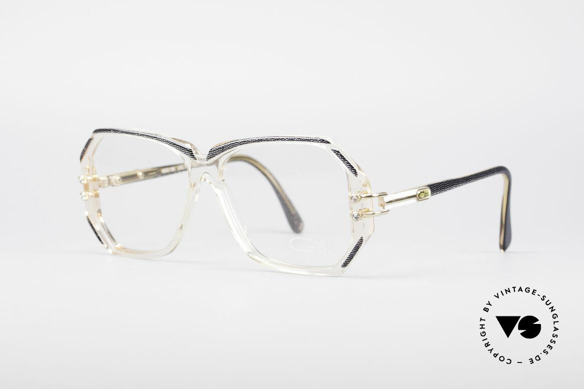Cazal 169 Kleine Designer Brille, kristallklare Fassung mit anthrazit-metallic Umrandungen, Passend für Damen