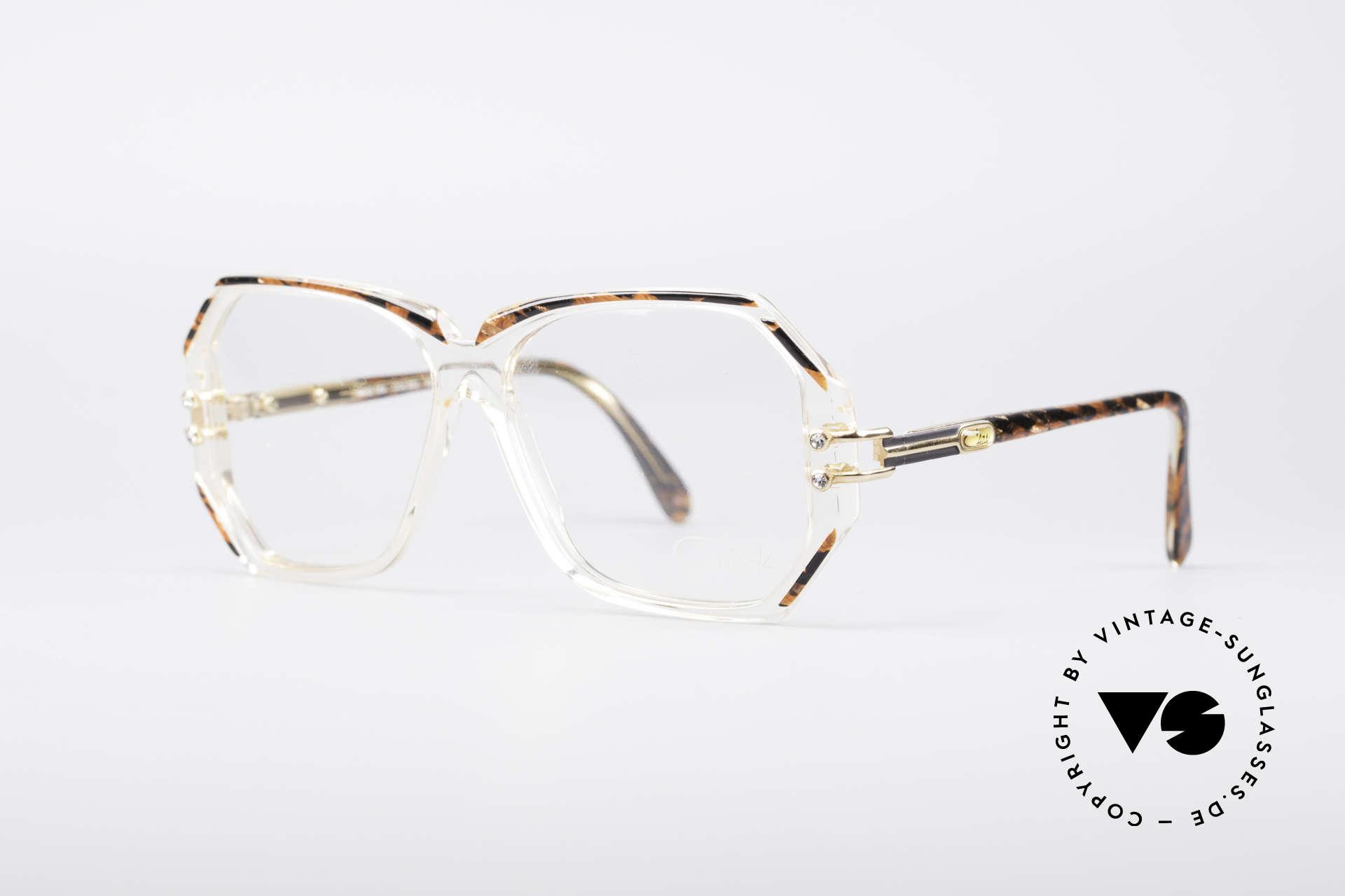 """Cazal 169 Vintage Designer Brille, kristallklare Fassung mit Umrandungen in """"Wurzelholz"""", Passend für Damen"""