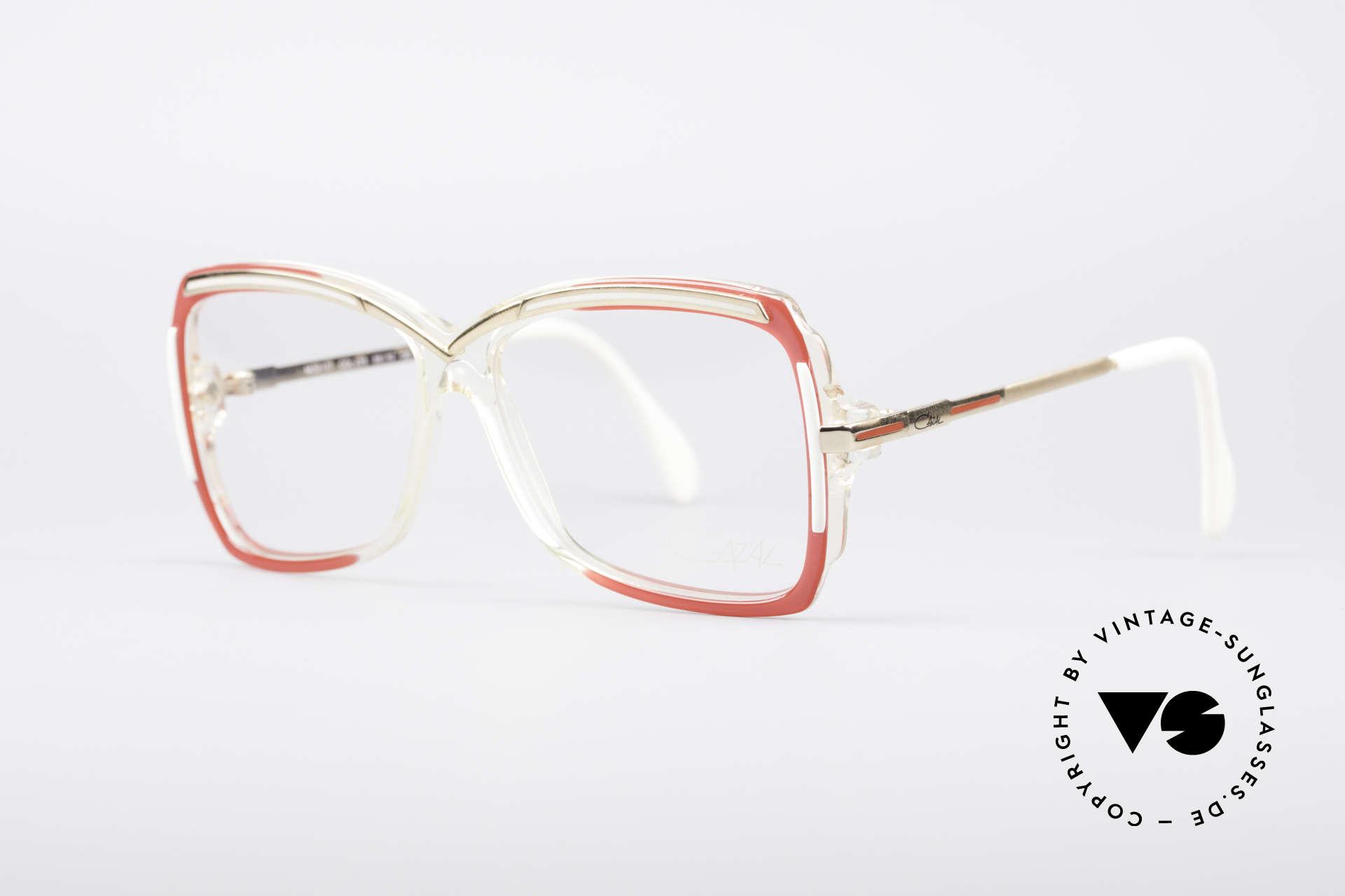 Cazal 177 80er Designerbrille, Rahmen in kristall-rot-weiss-gold (Designerstück), Passend für Damen