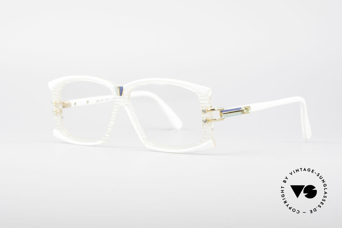 Cazal 195 80er Hip Hop Brille, kristallklar mit weißen Streifen und blauen Akzenten, Passend für Damen