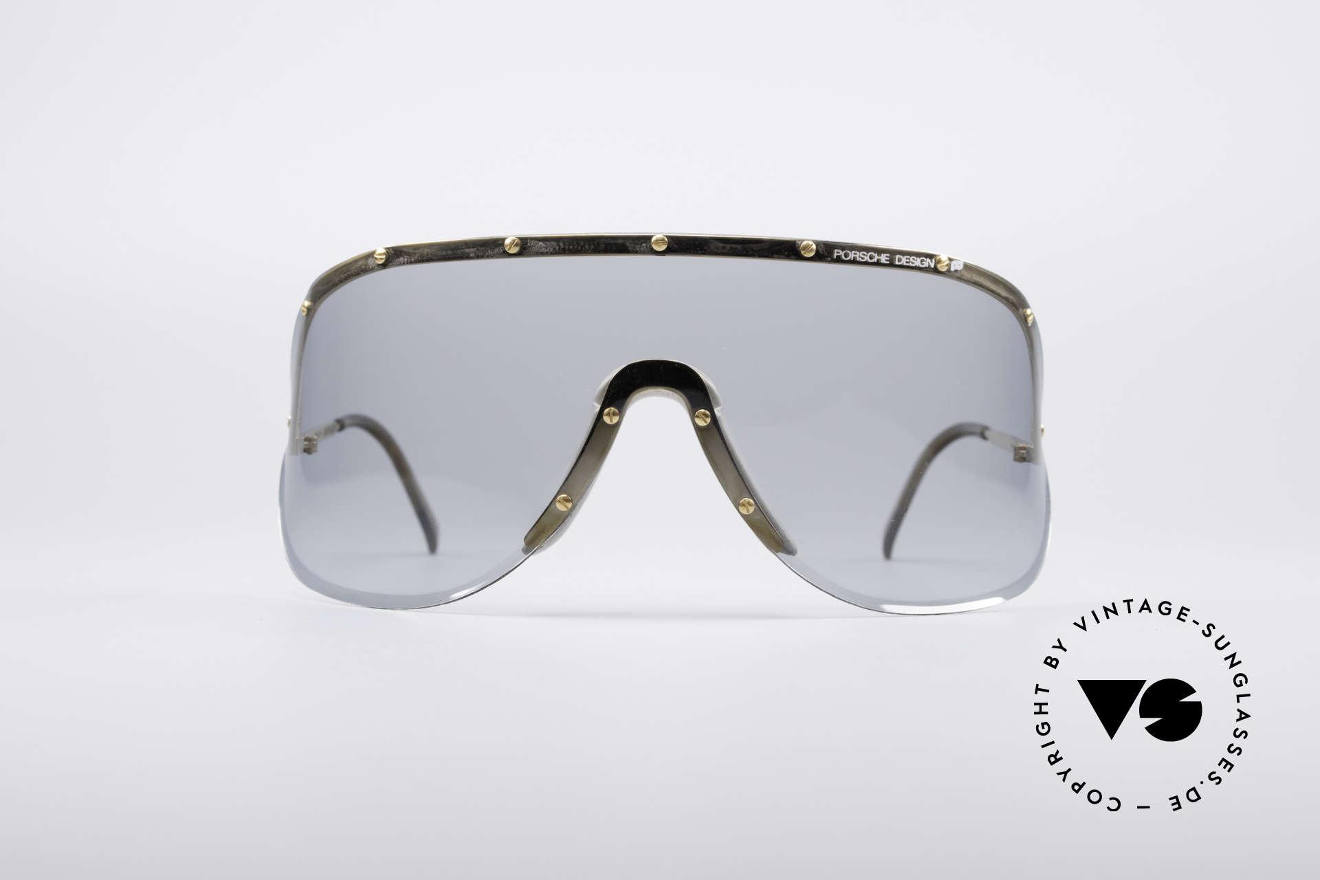 Porsche 5620 Yoko Ono Sonnenbrille Gold, Model 5620: riesige Scheibe für den besonderen Auftritt, Passend für Herren und Damen