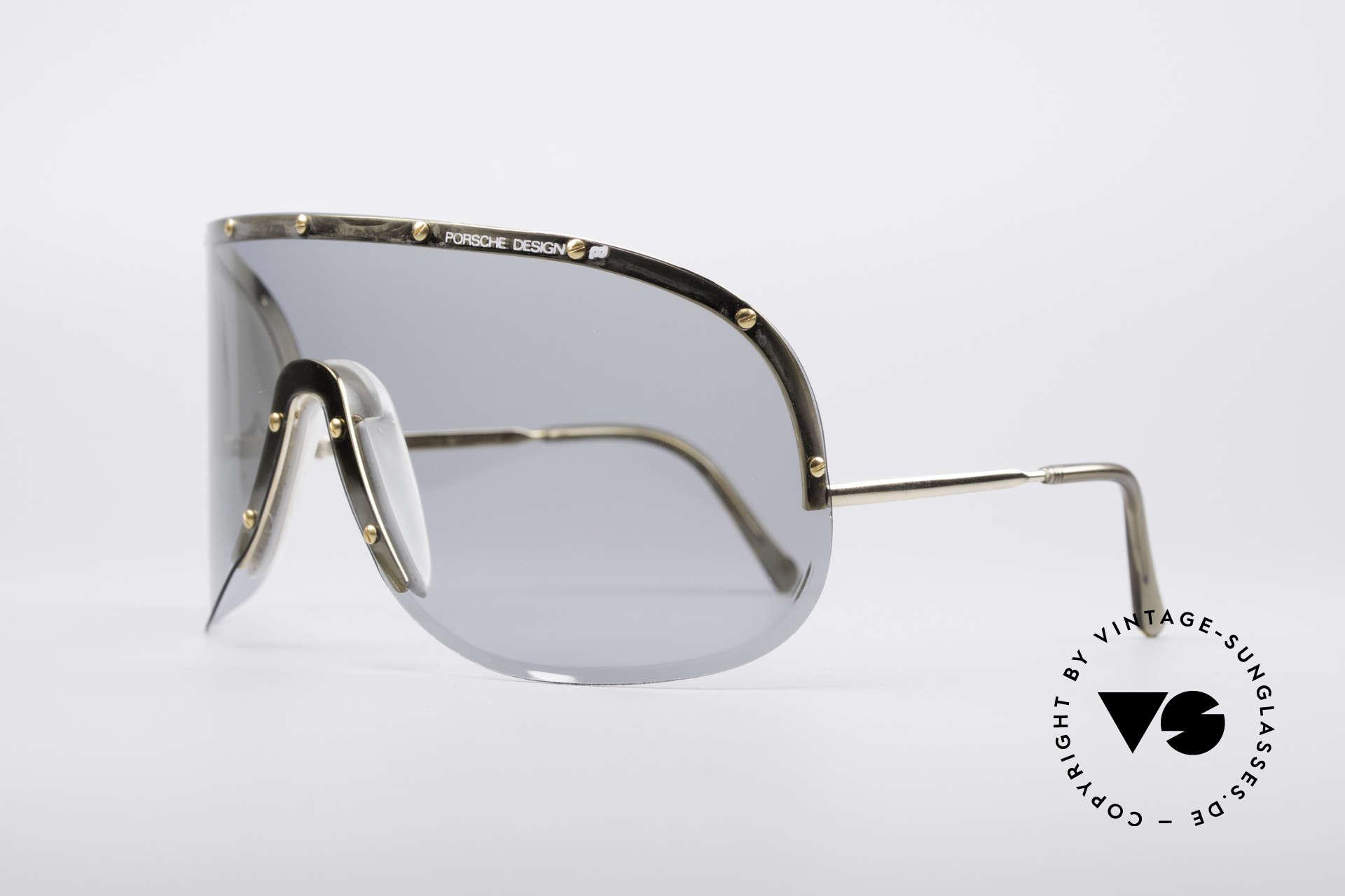 """Porsche 5620 Yoko Ono Sonnenbrille Gold, getragen von Yoko Ono (""""Rolling Stone"""" Magazin, 1981), Passend für Herren und Damen"""