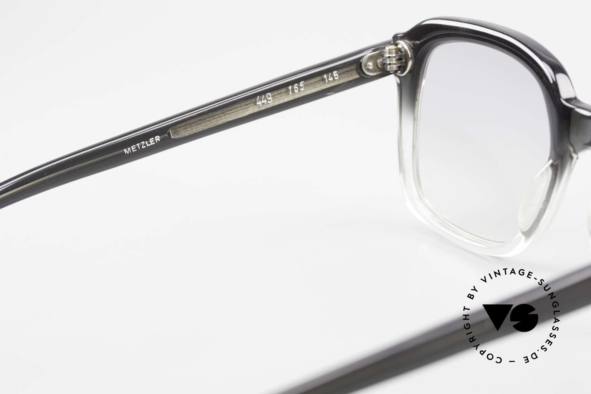 Metzler 449 Echte 70er Original Nerdbrille, leicht grau getönte Sonnengläser für 100% UV Schutz, Passend für Herren