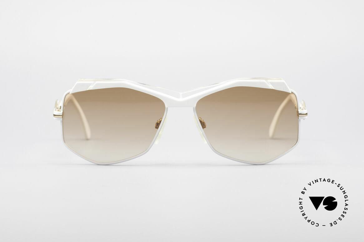 Cazal 230 80er Hip Hop Sonnenbrille, außergewöhnliche, sechseckige Gläserform, Passend für Damen