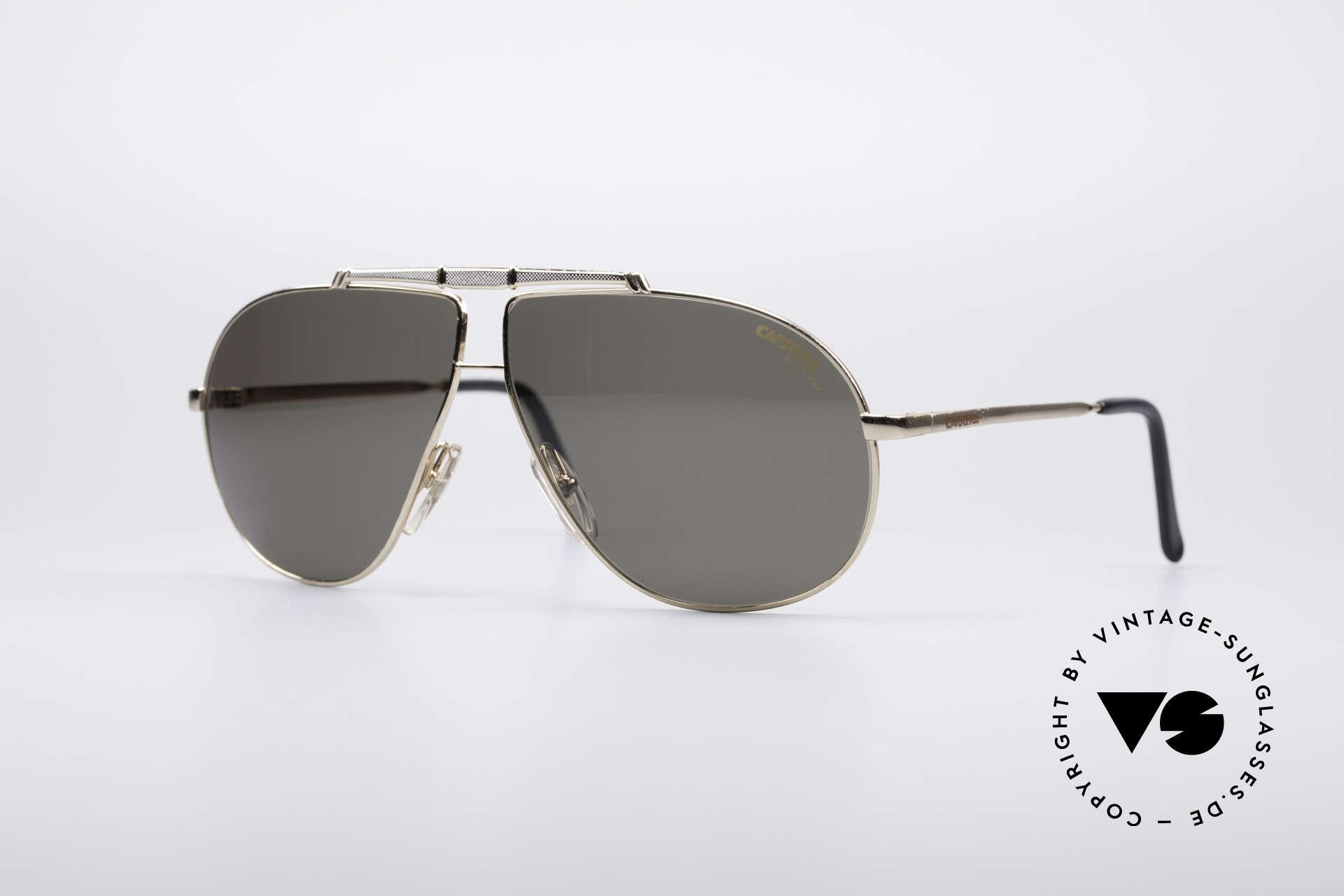 Carrera 5401 80er Pilotensonnenbrille, alte 80er Jahre Carrera Sonnenbrille in Pilotenform, Passend für Herren