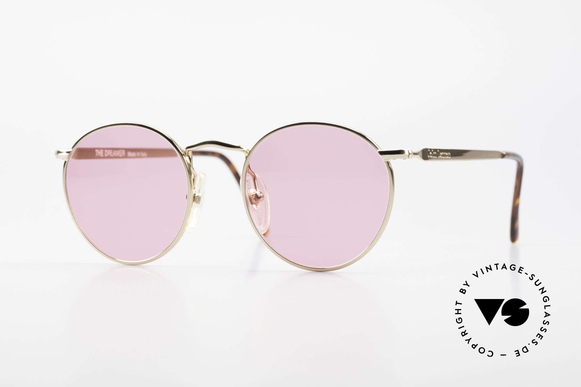 John Lennon - The Dreamer Die Rosarote Vintage Brille, Model 'The Dreamer': Panto-Brille in 47mm Größe, Passend für Herren und Damen