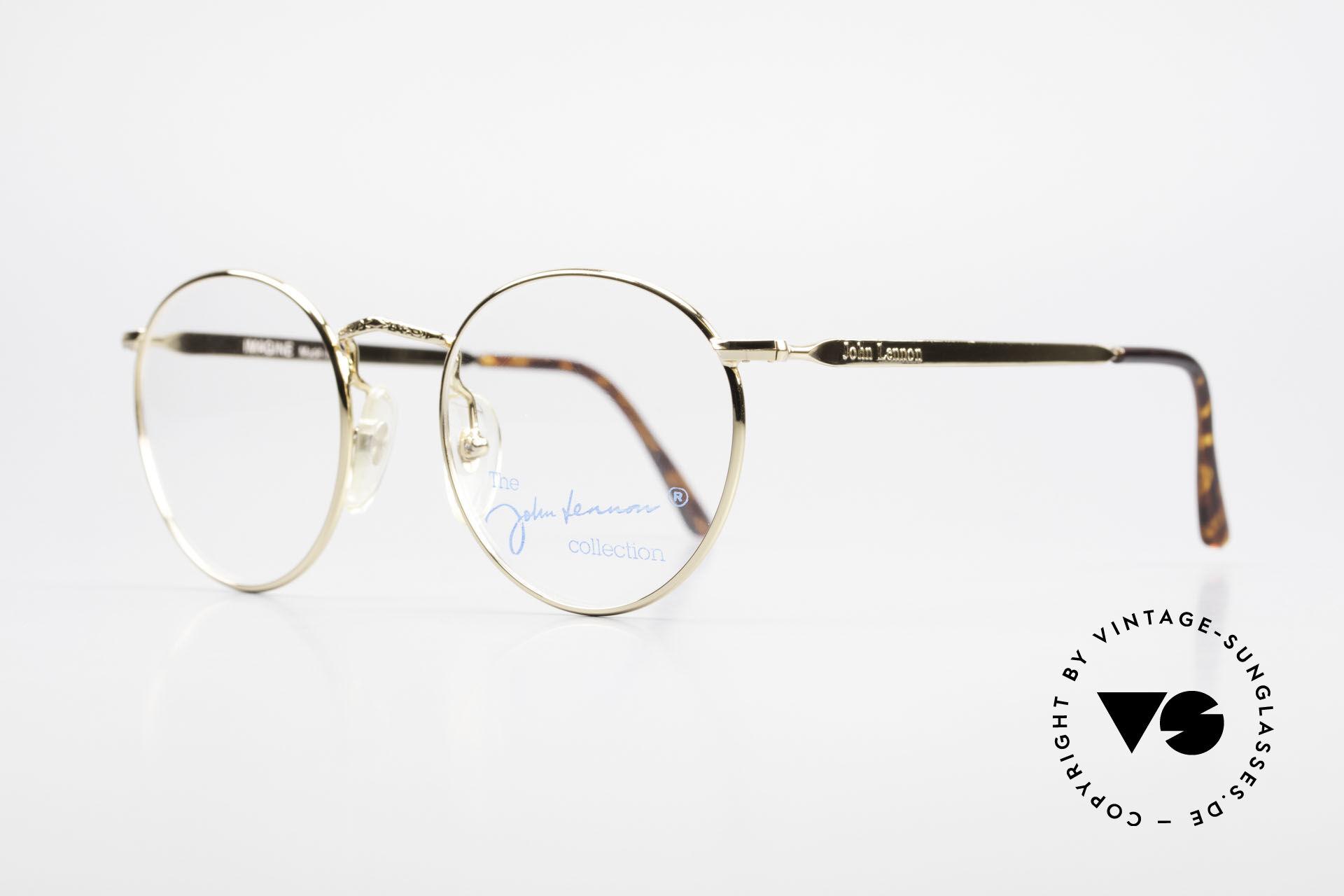 John Lennon - Imagine Kleine Runde Vintage Brille, Modell 'IMAGINE': Panto-Fassung in 49mm Größe, Passend für Herren und Damen