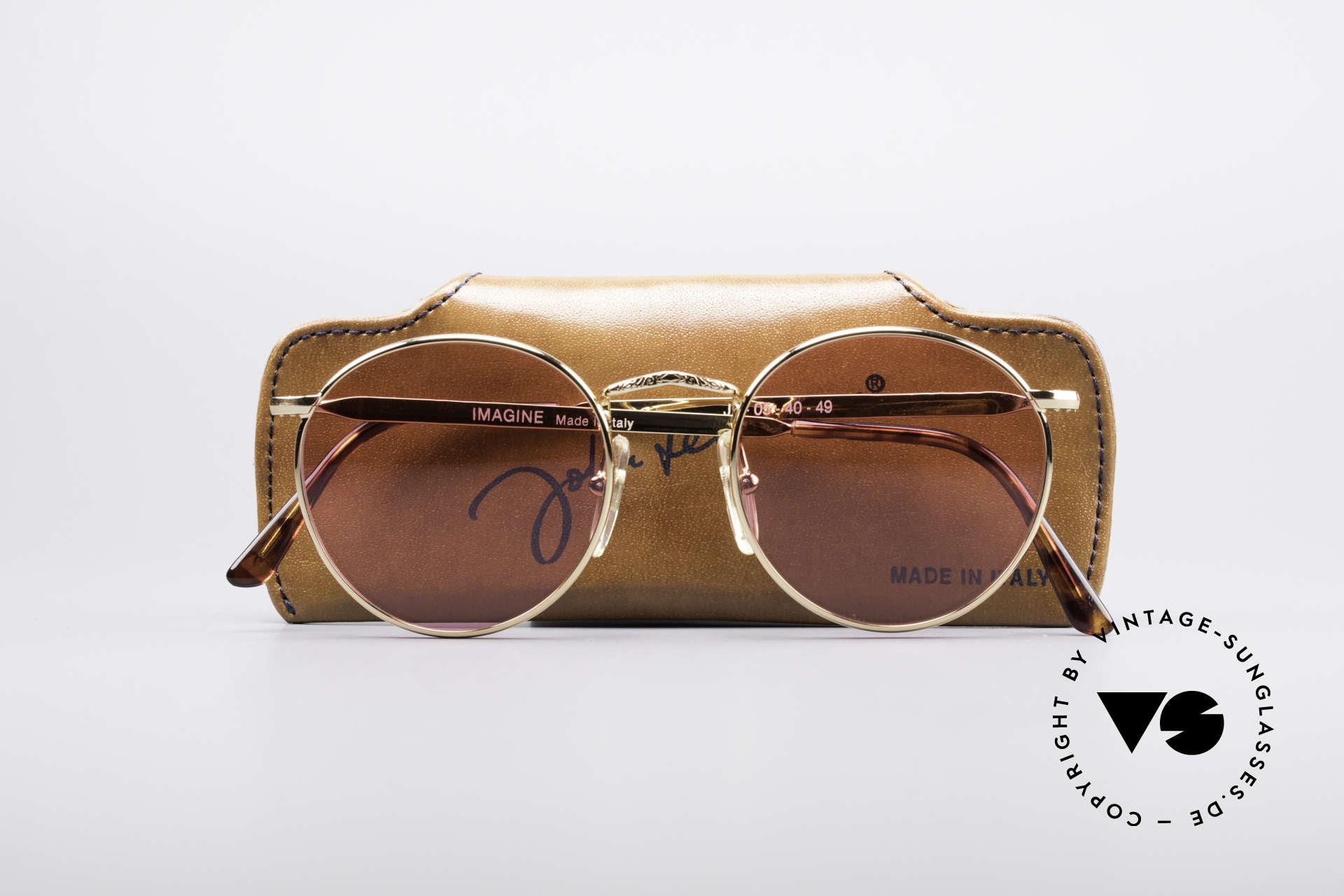 John Lennon - Imagine Die Rosarote Vintage Brille, KEINE RetroSonnenbrille, sondern ein altes Original, Passend für Herren und Damen