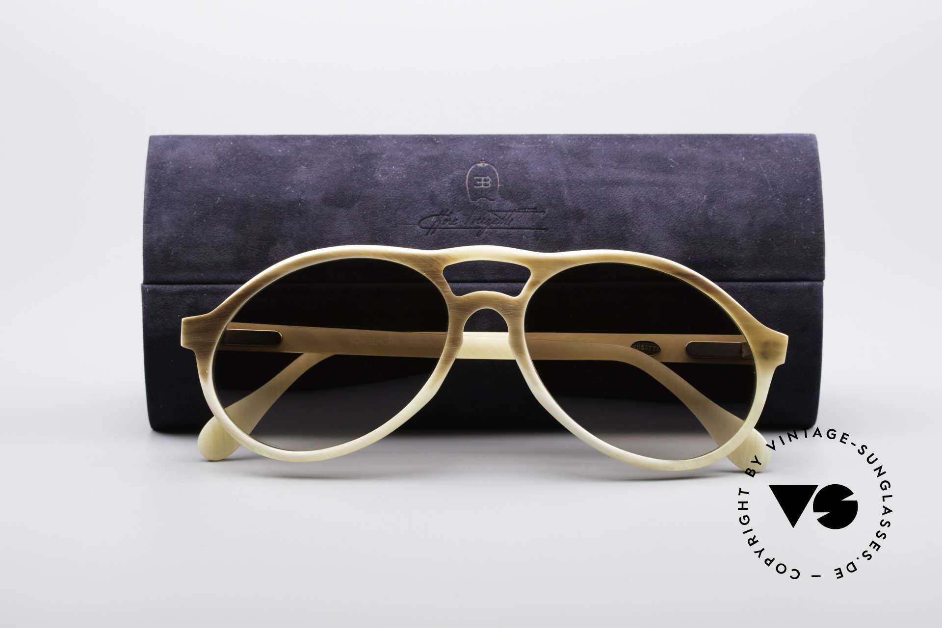 Bugatti 7343 Echt Büffelhorn Sonnenbrille, Größe: medium, Passend für Herren