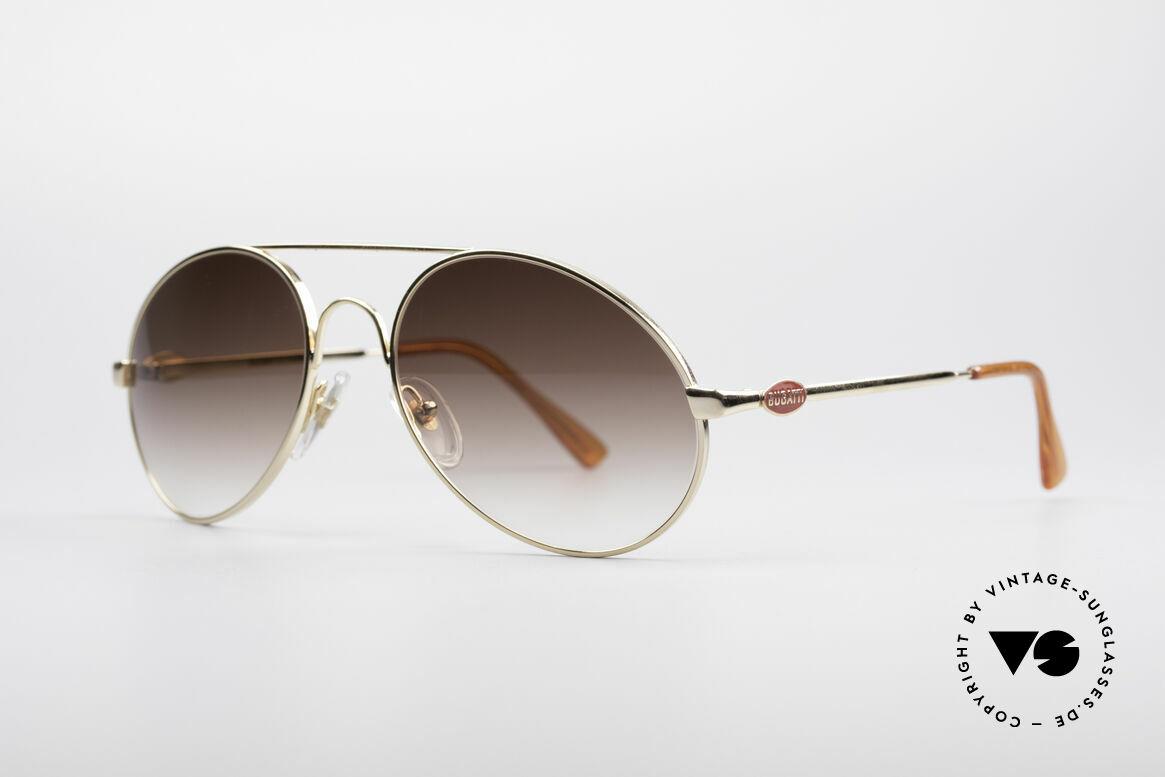 Bugatti 65986 80er Luxus Sonnenbrille, goldene Fassung mit Gläsern in braun-Verlauf, Passend für Herren