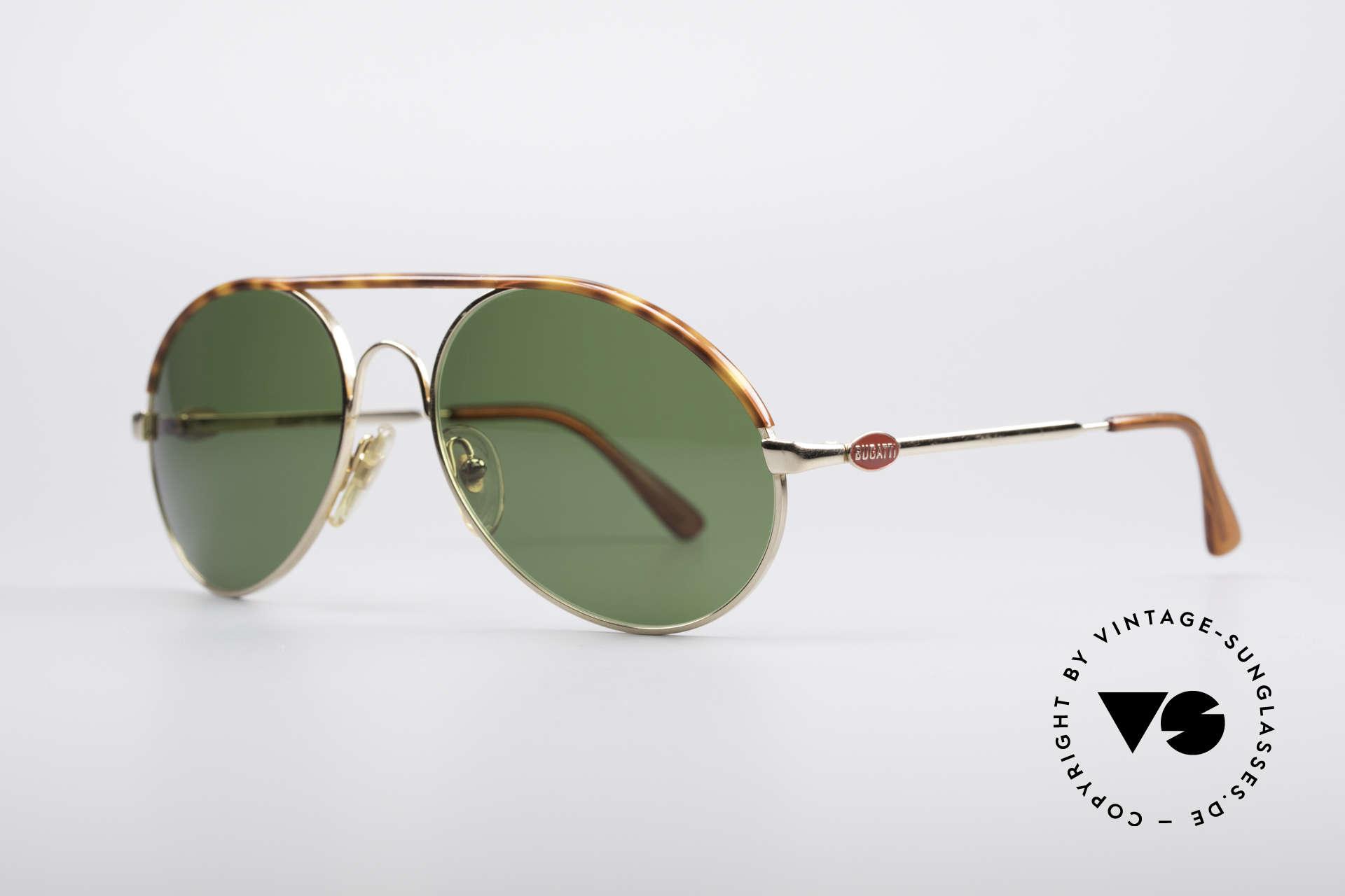 Bugatti 65986 80er Herren Sonnenbrille, Mod. 65986 mit Oberrand in Schildpatt-Optik, Passend für Herren