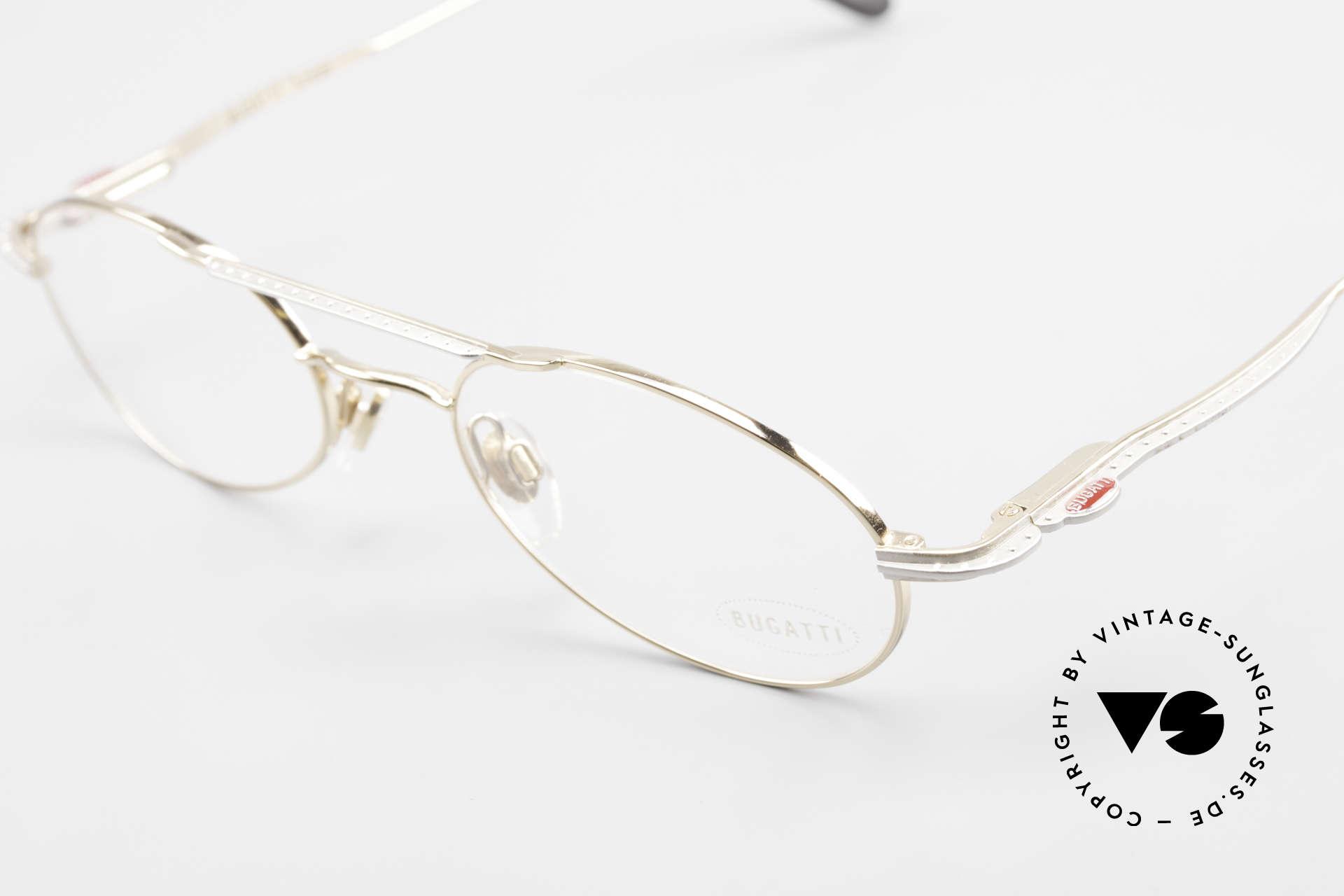 Bugatti 22996 Rare 90er Herren Luxusbrille, zudem Federgelenke und sehr leicht (Titanium), Passend für Herren