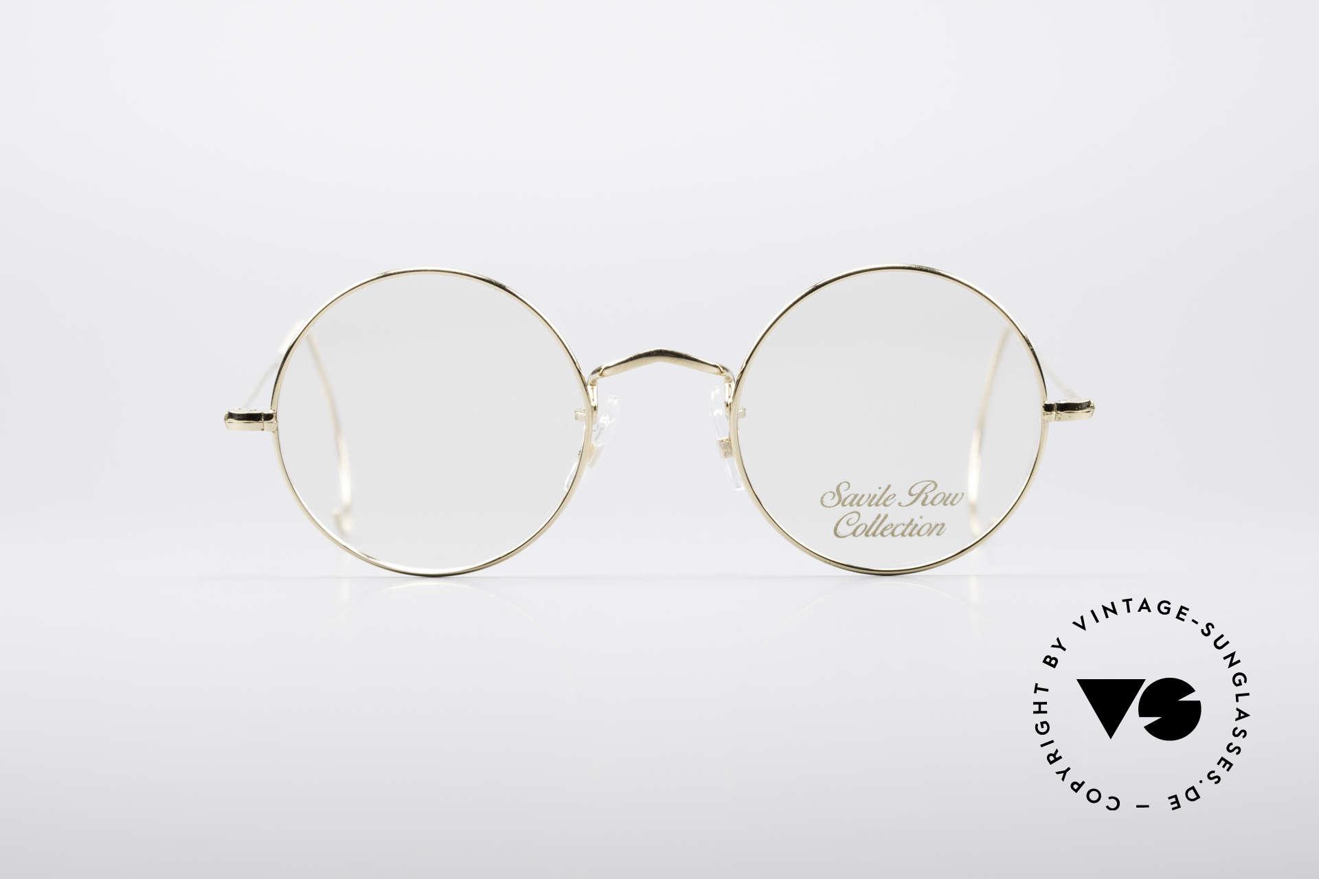 Savile Row Round 44/20 14kt Gold Fassung, klassisch runde vintage Brille aus den frühen 80ern, Passend für Herren und Damen