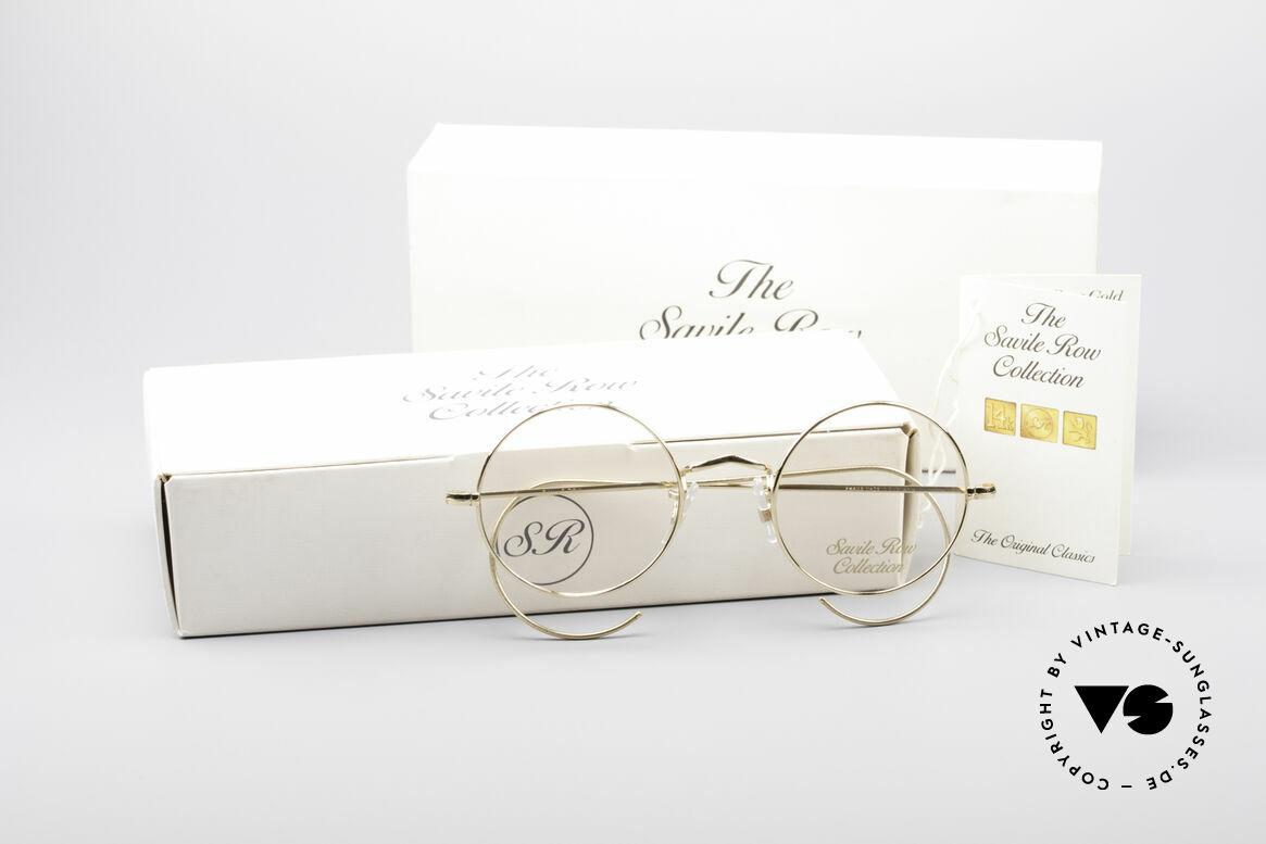 Savile Row Round 44/20 14kt Gold Fassung, ungetragene Rarität + Verpackung; SMALL Gr. 44°20, Passend für Herren und Damen