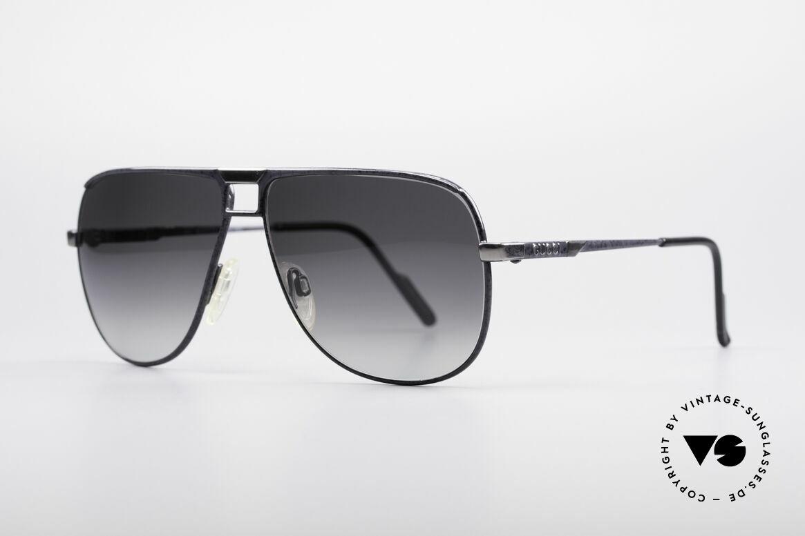 Gucci 1206 80er Designer Herrenbrille, GUCCI's Pilotenbrillendesign mit Federscharnieren, Passend für Herren