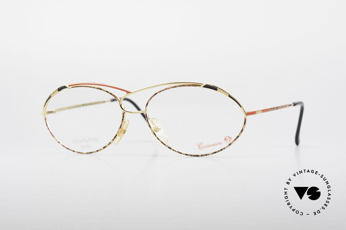 Casanova LC13 24kt Vergoldete Brille, zauberhafte CASANOVA Designerbrille von circa 1985, Passend für Damen