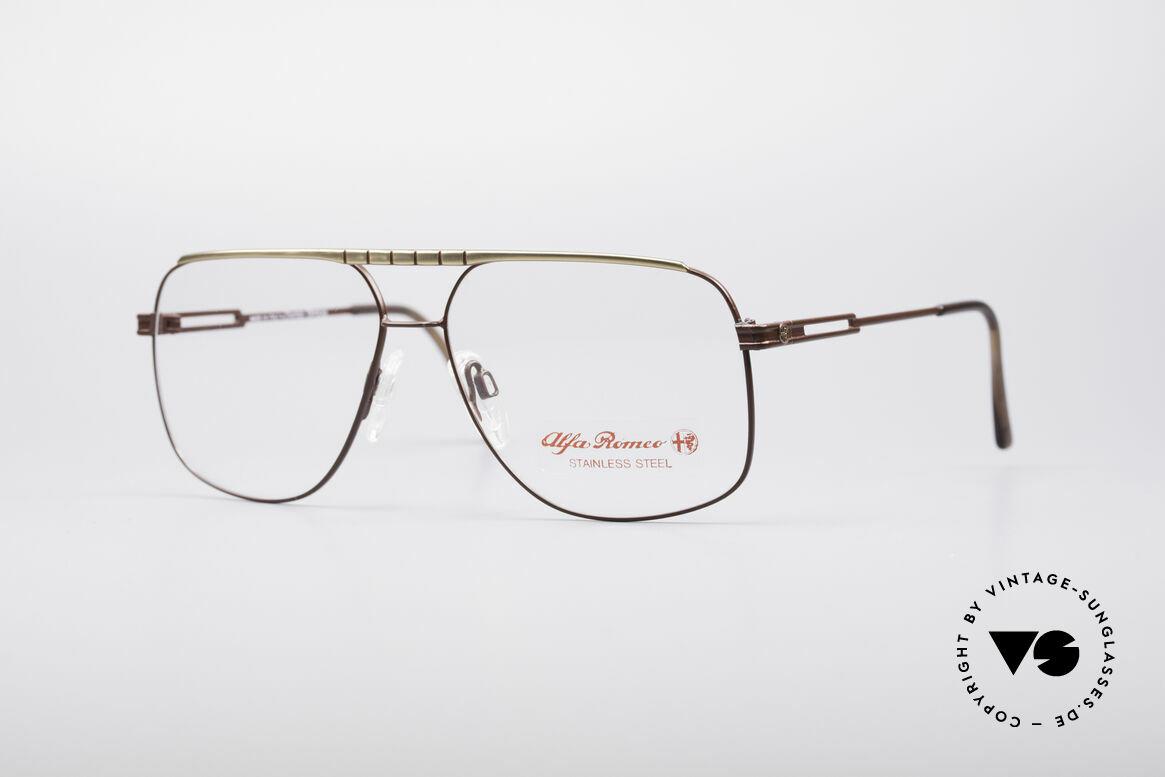 Alfa Romeo 60-252 80er Vintage Brille, sportliche italienische vintage Fassung von Alfa Romeo, Passend für Herren