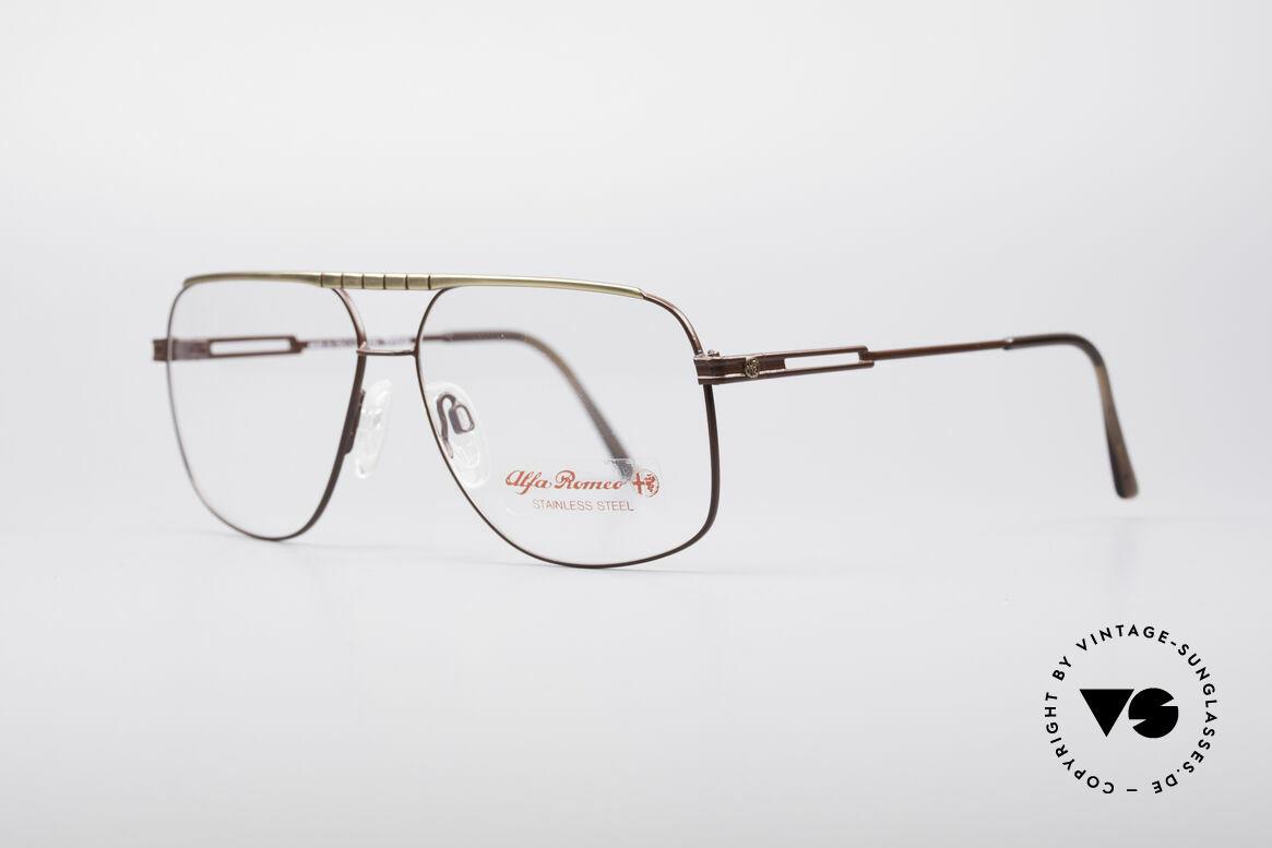 Alfa Romeo 60-252 80er Vintage Brille, grandiose Rahmen-Lackierung in Rotbraun und Gold, Passend für Herren