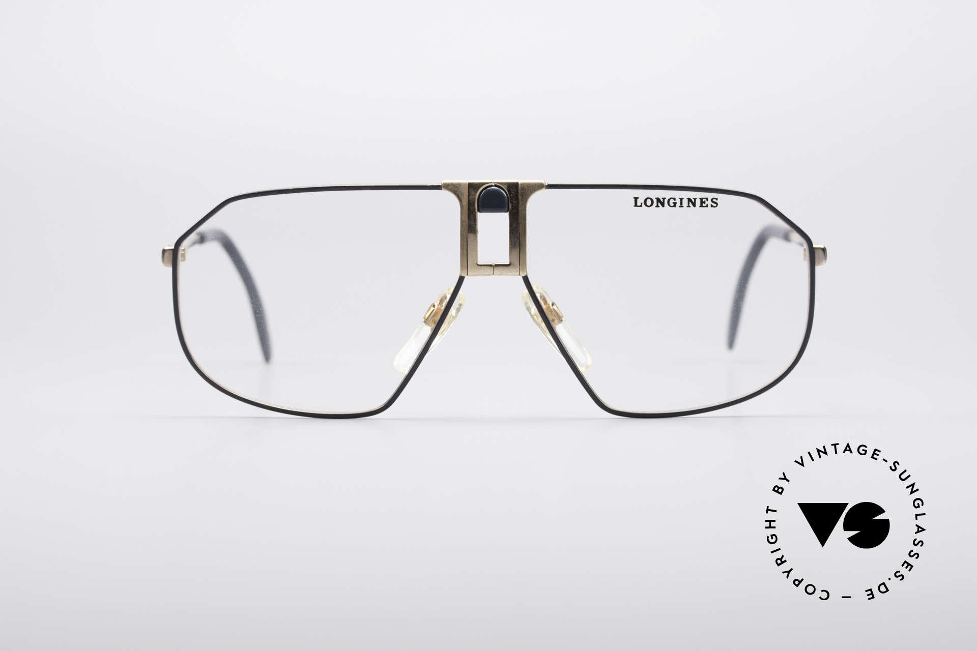 Longines 0153 80er Luxus Herrenbrille, sehr edler Rahmen mit flexiblen Federscharnieren, Passend für Herren