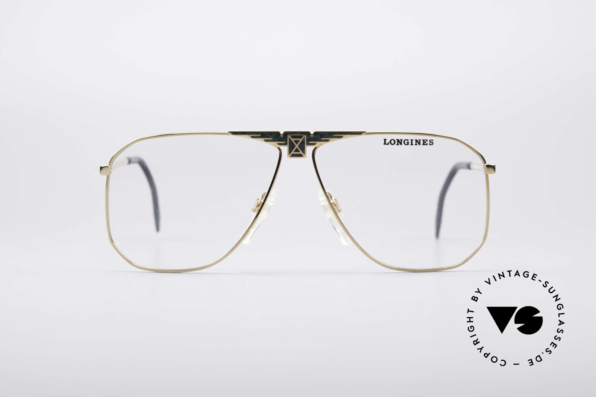 Longines 0155 80er Designer Fassung, sehr edler Rahmen mit flexiblen Feder-Scharnieren, Passend für Herren