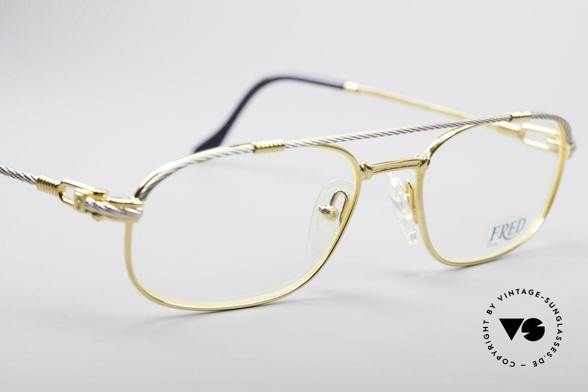Fred Fregate Luxus Seglerbrille S Fassung, mit original Fred Verpackung: Box, Lederetui, Zertifikat, Passend für Herren