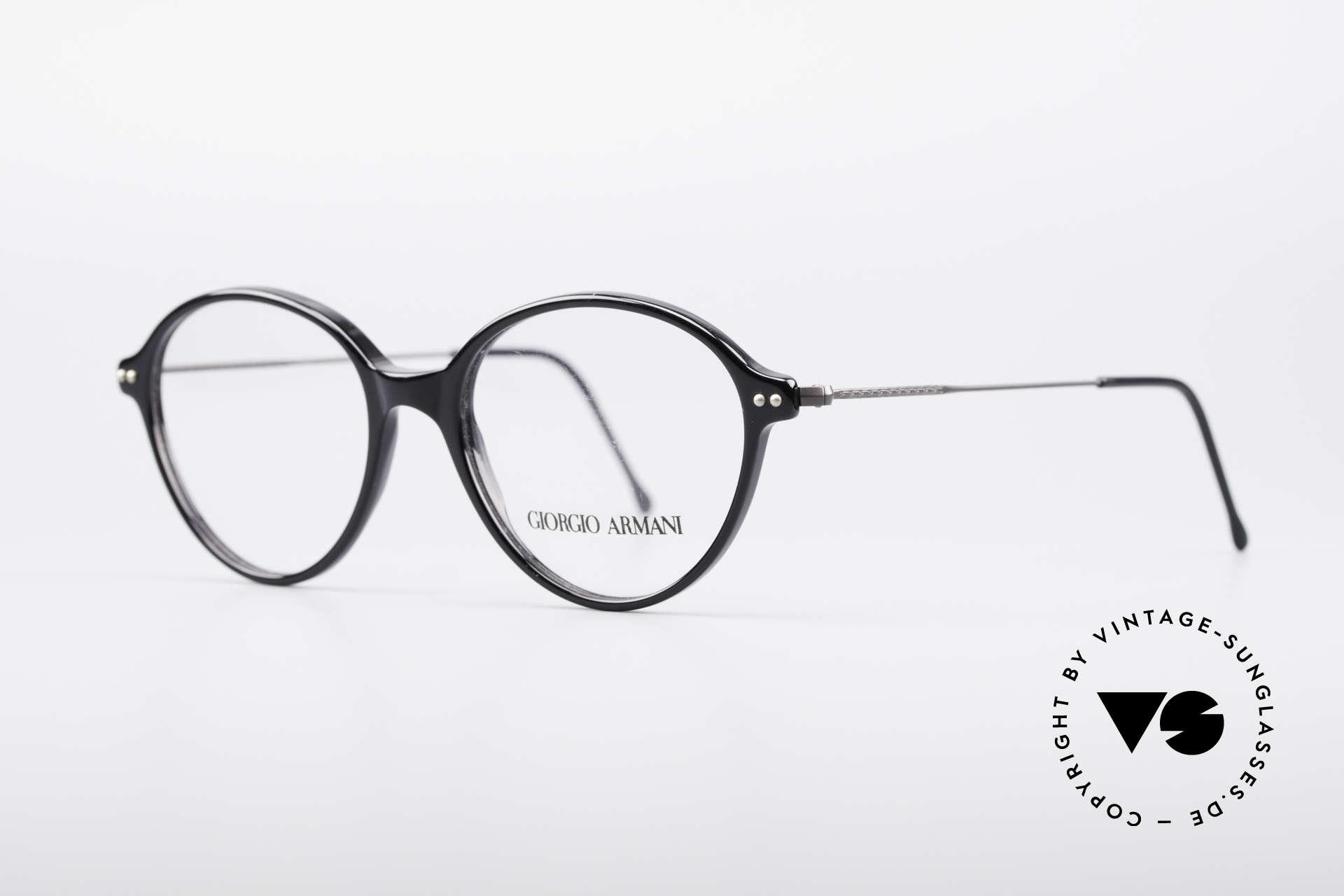 Giorgio Armani 374 90er Unisex Vintage Brille, Kunststoff-Front mit fein verzierten Draht-Bügeln, Passend für Herren und Damen