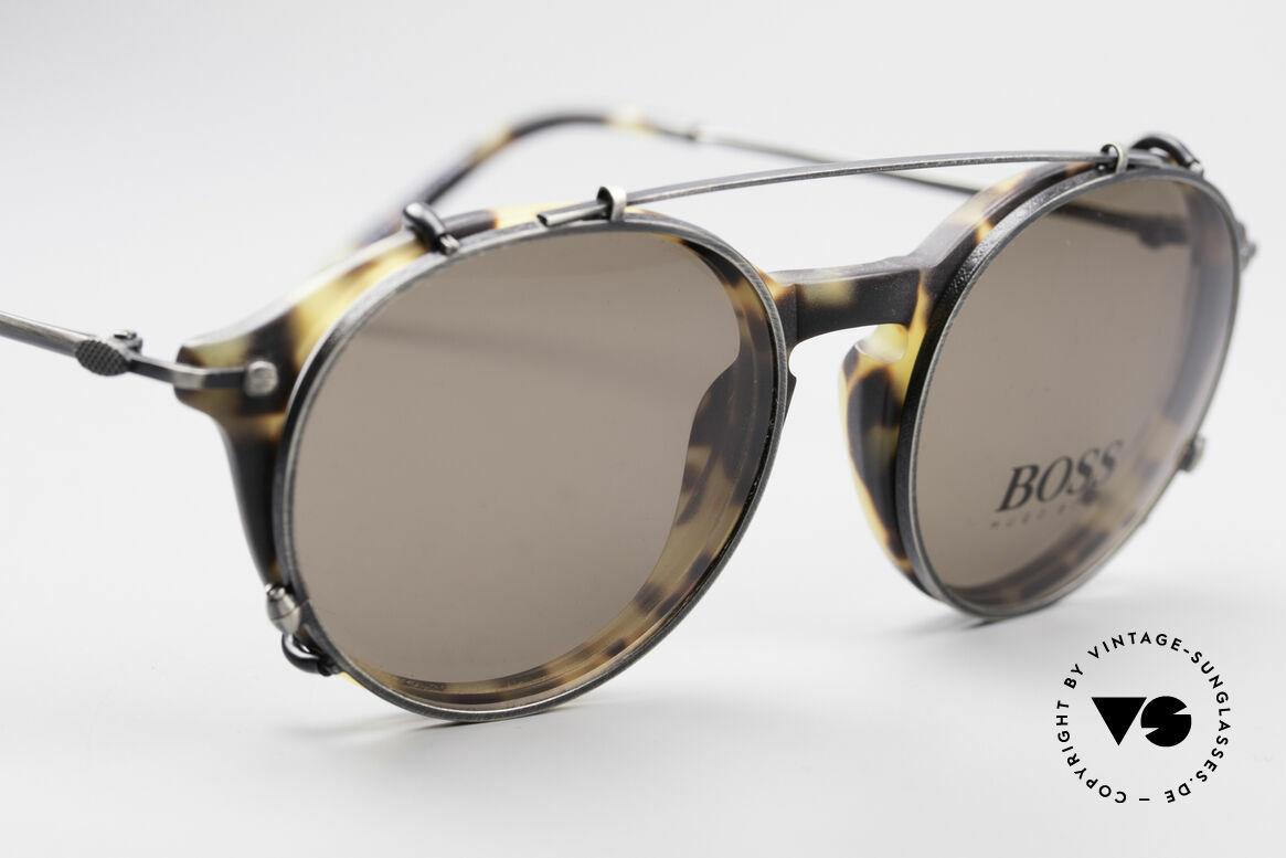 BOSS 5192 Sonnenclip Panto Brille 90er, zeitloses Design & sehr elegante Farbkombinationen, Passend für Herren