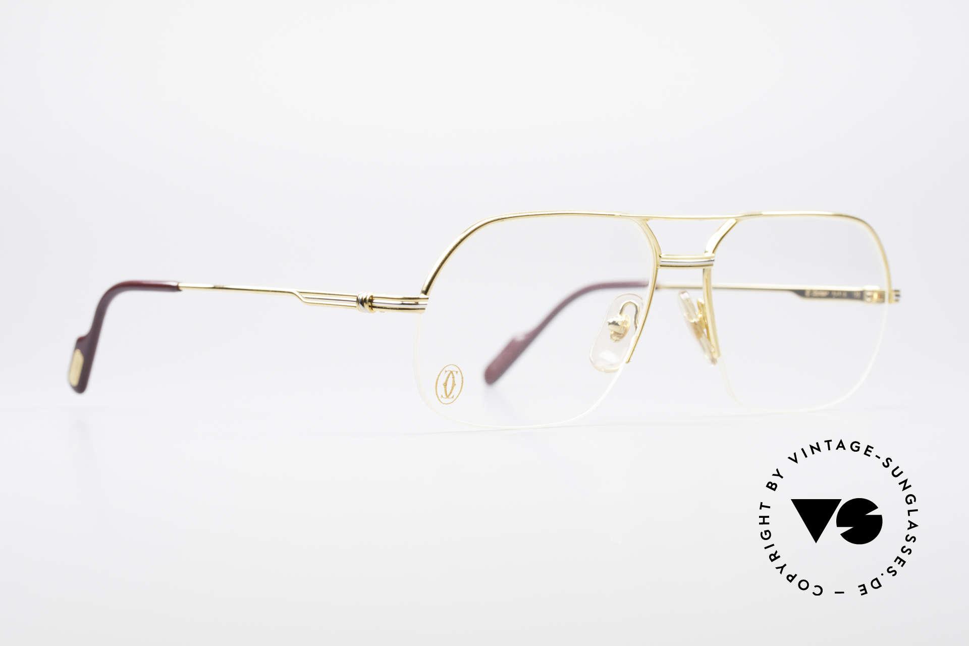Cartier Orsay Halbrand Luxus Herrenbrille, 22kt vergoldet (wie alle Cartier vintage Modelle), Passend für Herren