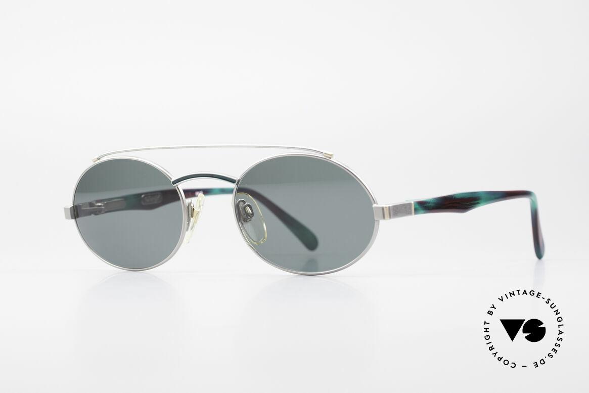 Davidoff 305 Ovale Vintage Herrenbrille, silberne Fassung: Brücke & Bügel in tannengrün/weinrot, Passend für Herren