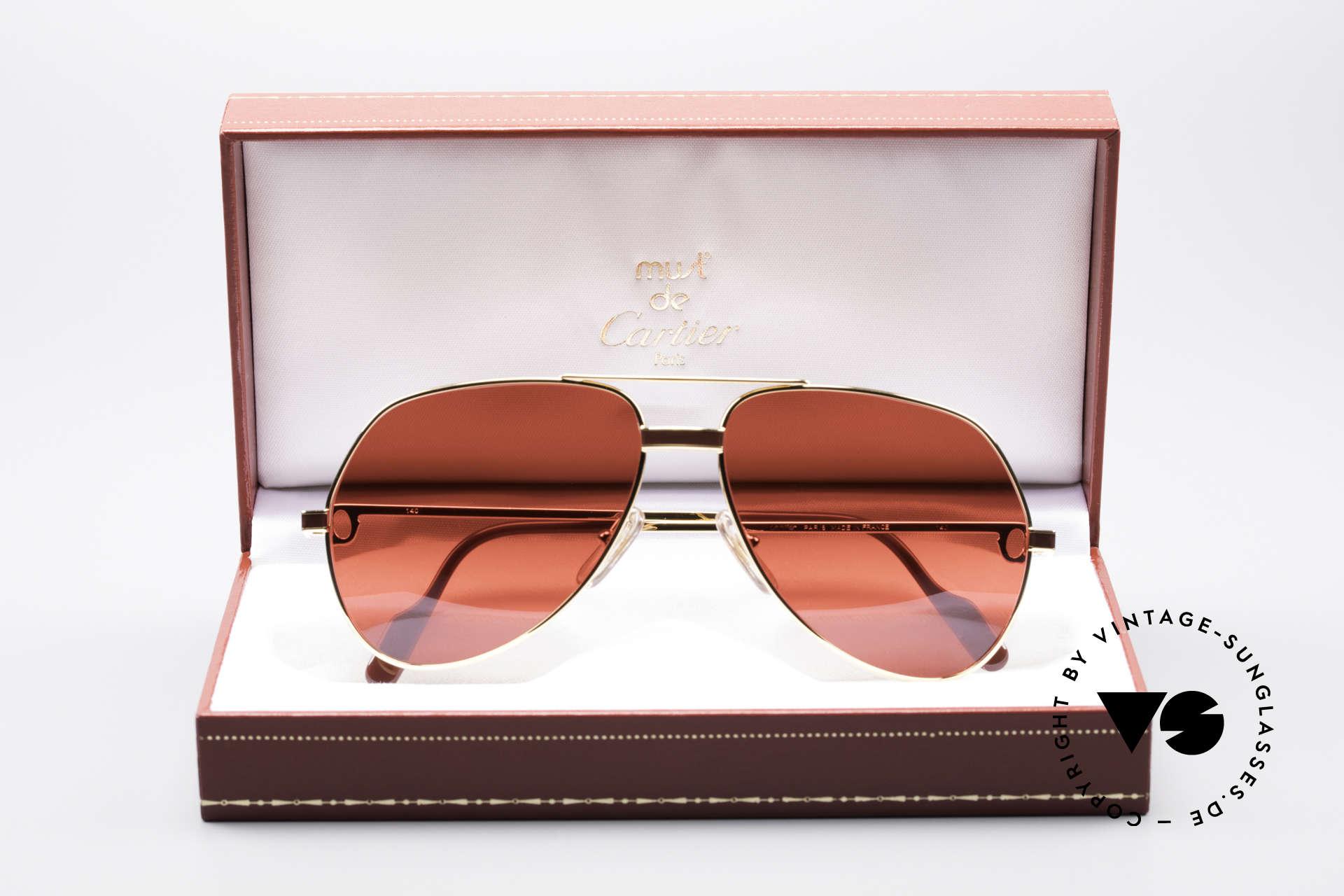 Cartier Vendome Laque - M Luxus Vintage Sonnenbrille, absolute Luxus-Fassung (22kt vergoldet) im Pilotenstil, Passend für Herren und Damen