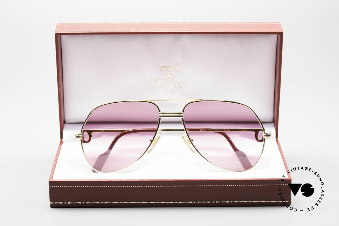 Cartier Vendome LC - M Michael Douglas Sonnenbrille, Luxus-Fassung (22kt) mit neuen pinken Sonnengläsern, Passend für Herren und Damen