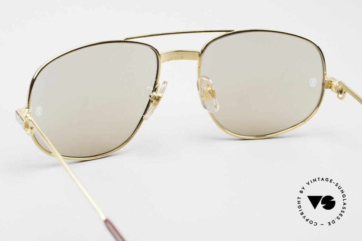 Cartier Romance Santos - L Luxus Sonnenbrille, 22kt vergoldete Fassung (wie alle alten Cartier Brillen), Passend für Herren