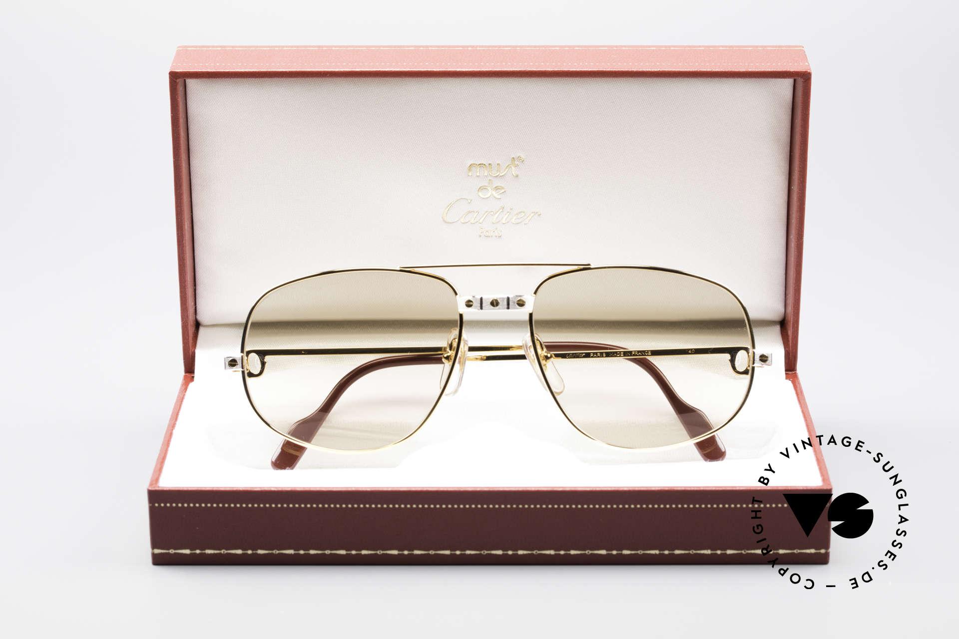 Cartier Romance Santos - L Luxus Sonnenbrille, teure Mineralgläser (100% UV) mit feinen Cartier-Logos, Passend für Herren
