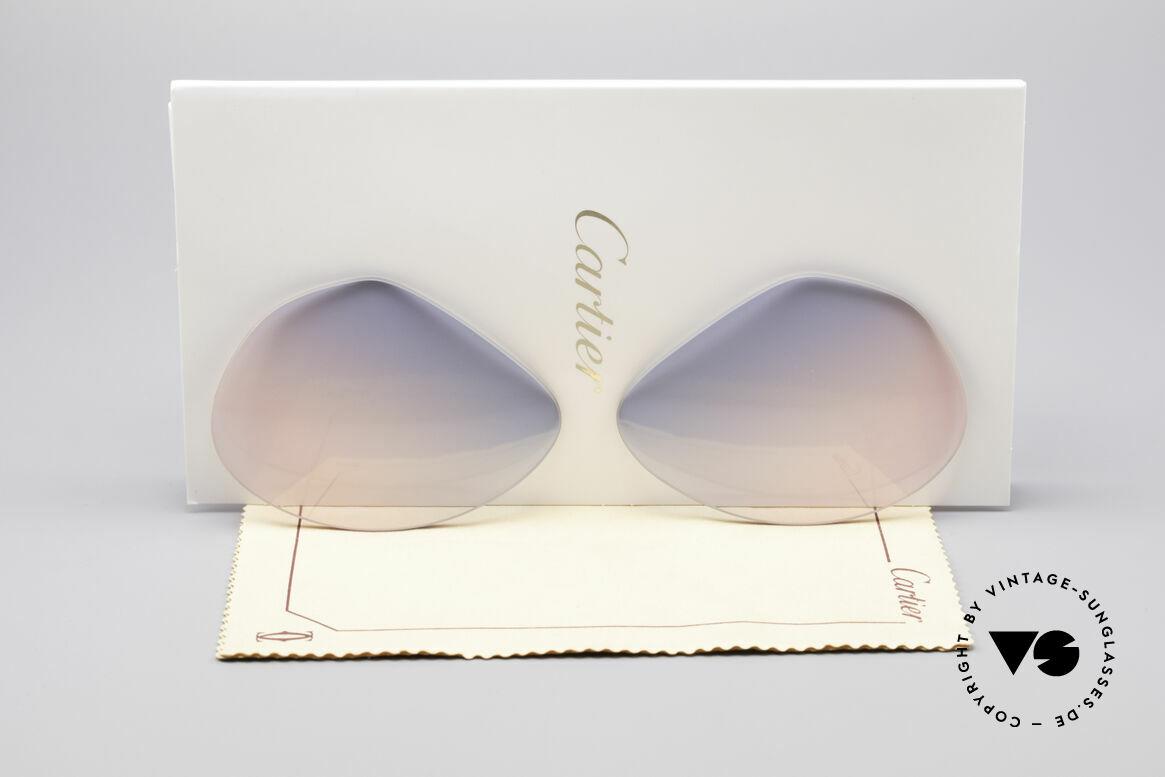 Cartier Vendome Lenses - L Gläser Blau Pink Verlauf, Ersatzgläser für Cartier Modell Vendome LARGE 62mm, Passend für Herren