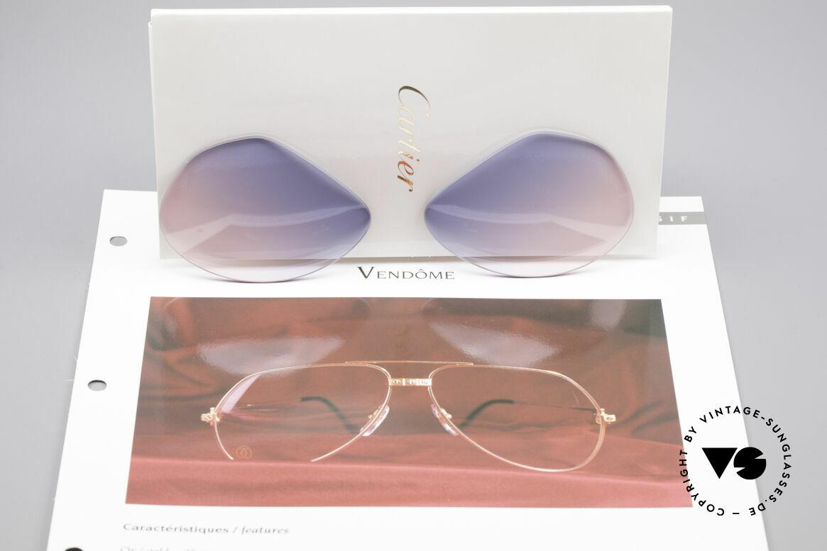 Cartier Vendome Lenses - L Gläser Blau Pink Verlauf, origineller Farbverlauf von (Baby)-Himmelblau zu Pink, Passend für Herren