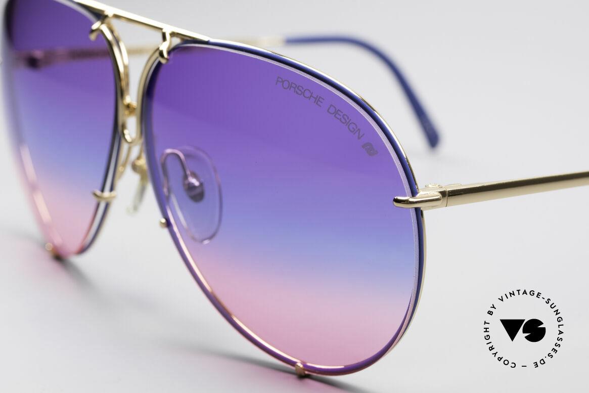 Porsche 5623 Tricolor Special Edition Brille, Sonder-Edition: vergoldet mit blauen Glaseinfassungen, Passend für Herren und Damen