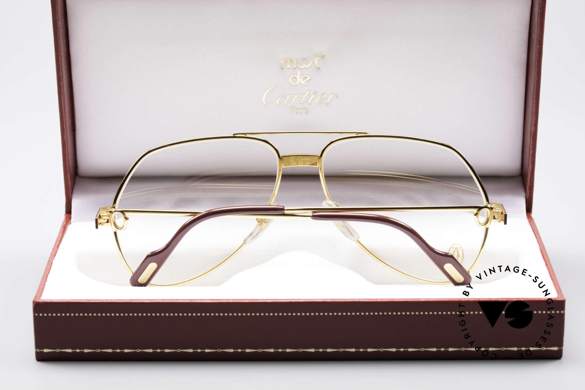 Cartier Vendome Santos - S James Bond Brille 80er Jahre, ungetragen mit original Verpackung (ein Sammlerstück), Passend für Herren und Damen